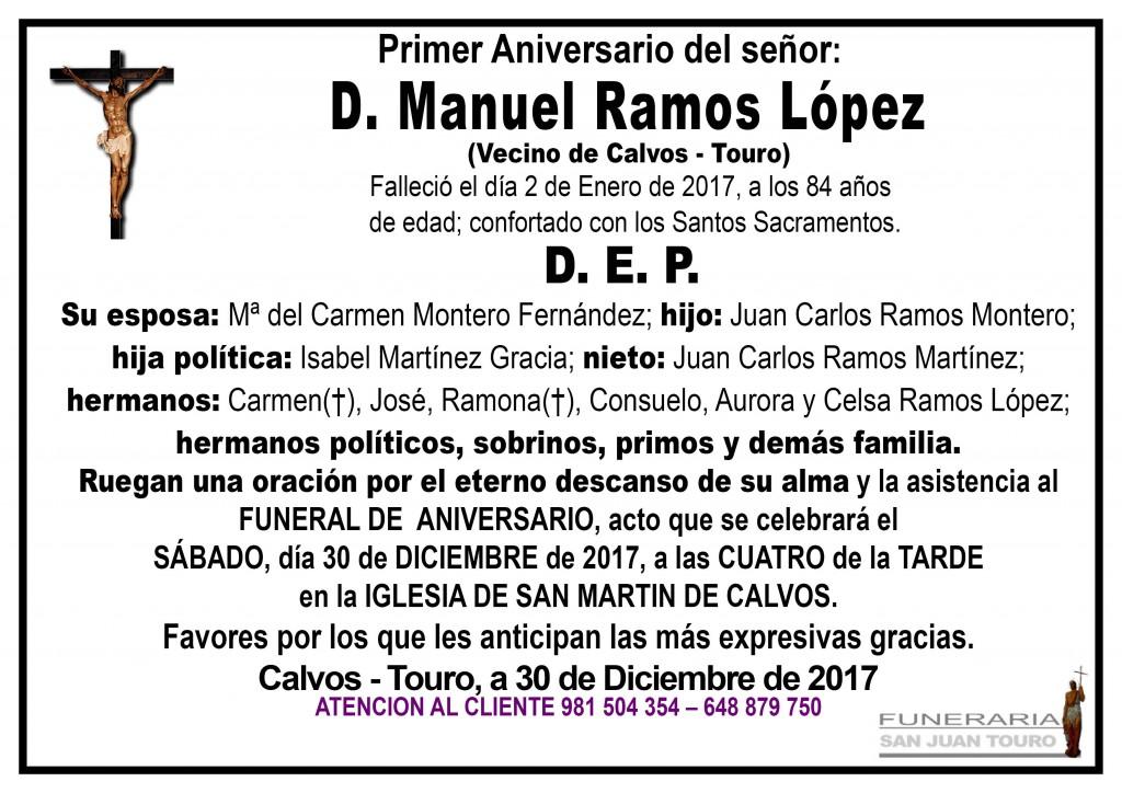 Esquela Aniversario D Manuel RAMOS lopez