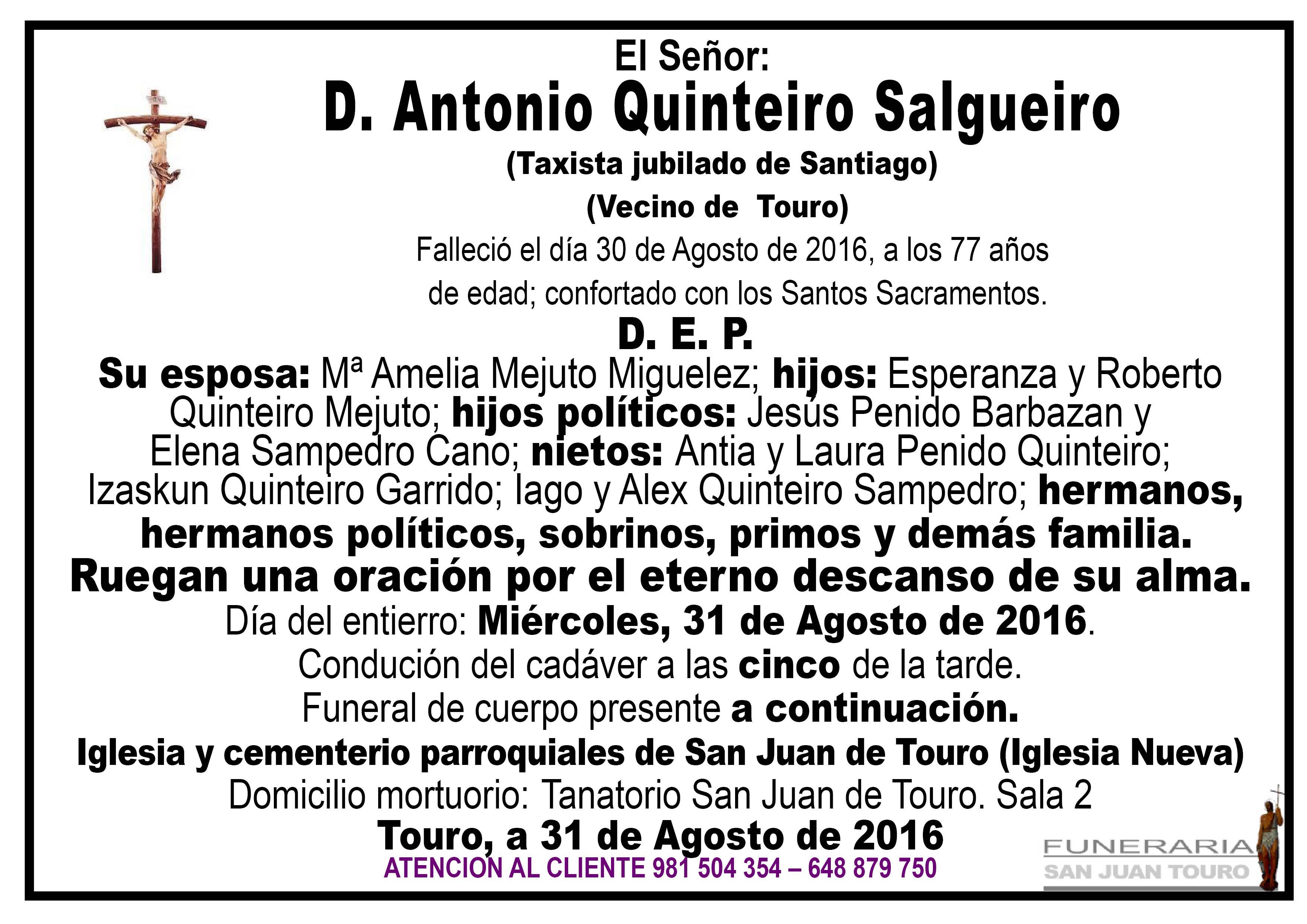 Esquela de SEPELIO D. ANTONIO QUINTEIRO SALGUEIRO