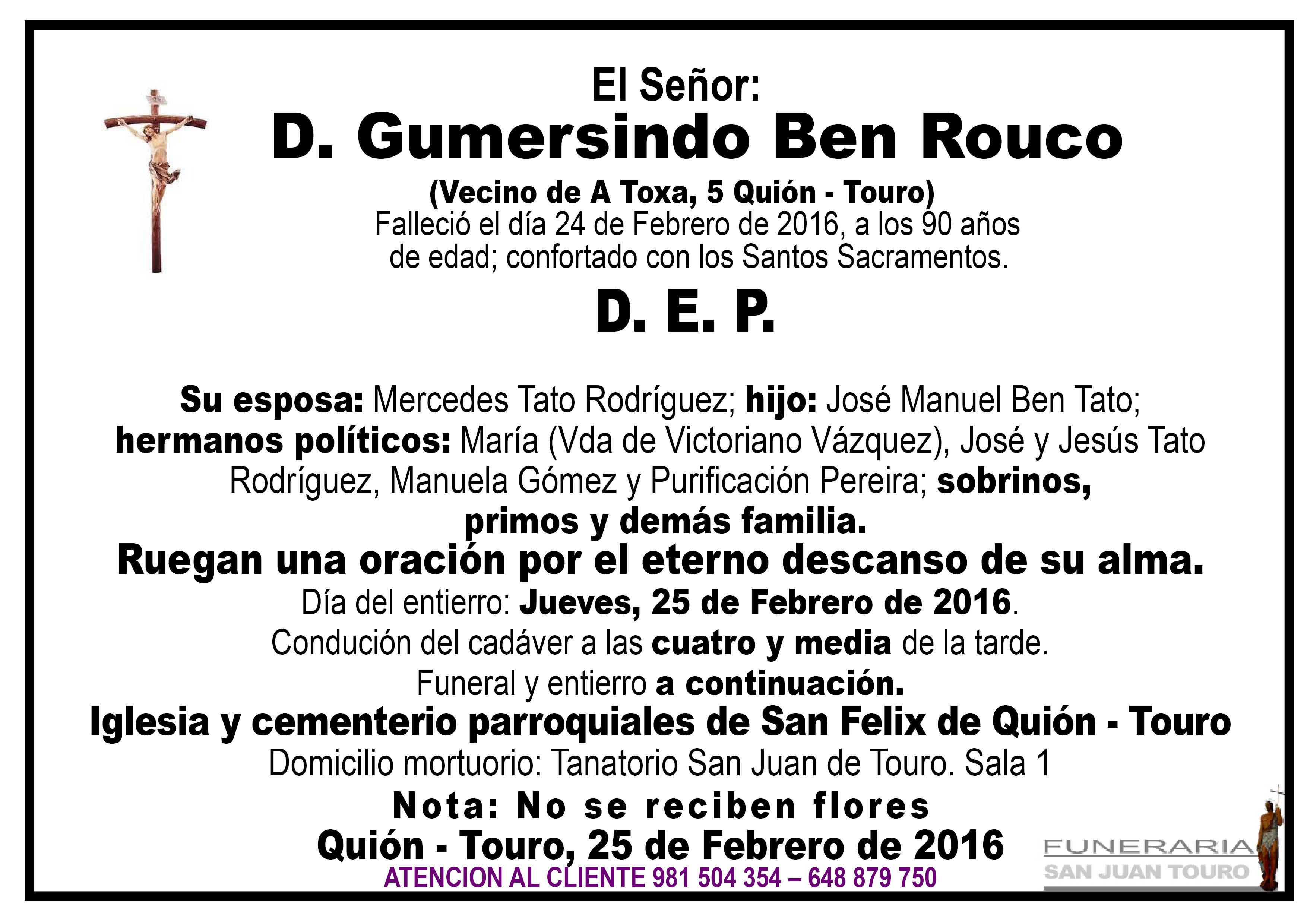 Esquela de SEPELIO D. GUMERSINDO BEN ROUCO