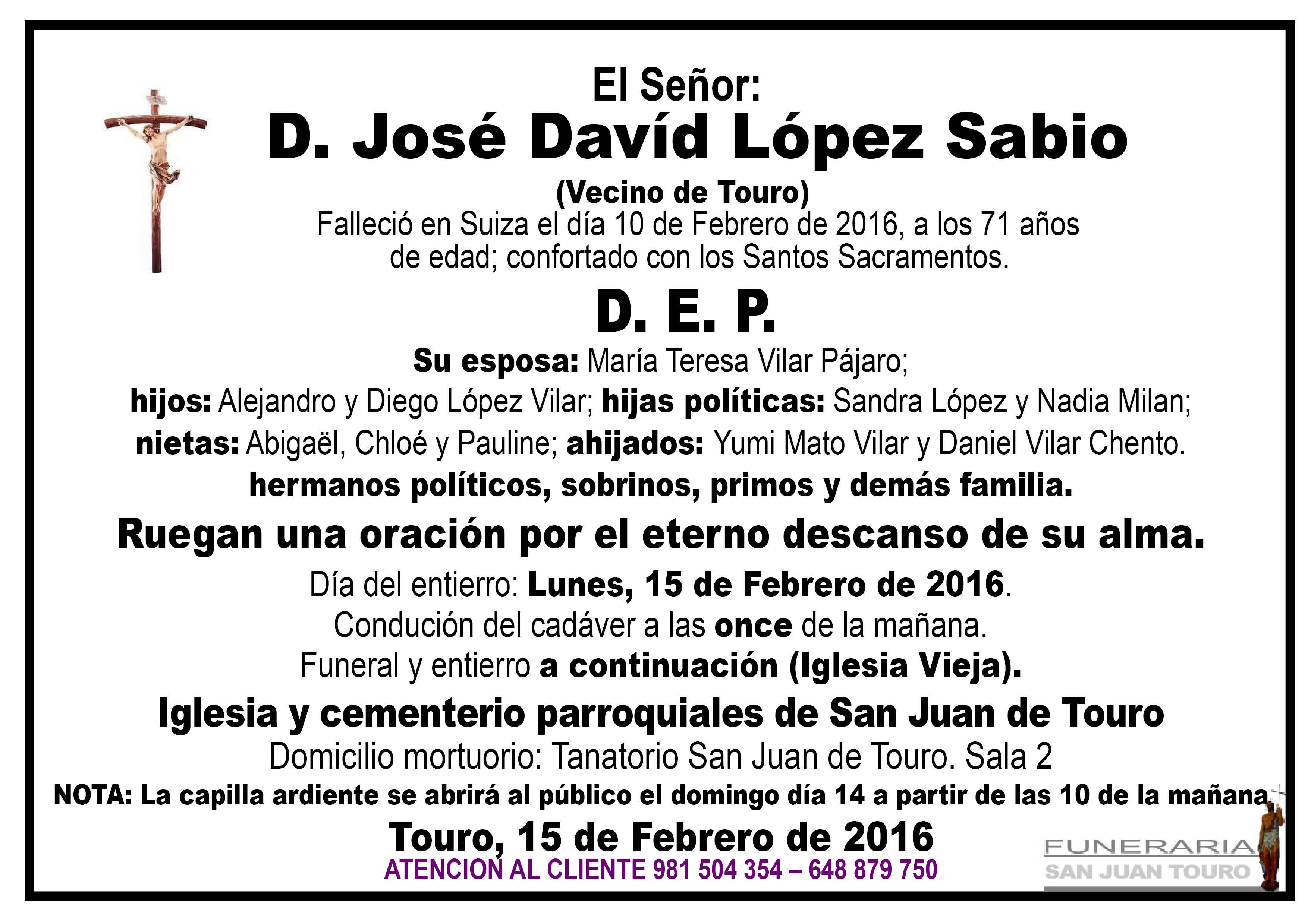 Esquela de SEPELIO D. JOSÉ DAVID LÓPEZ SABIO