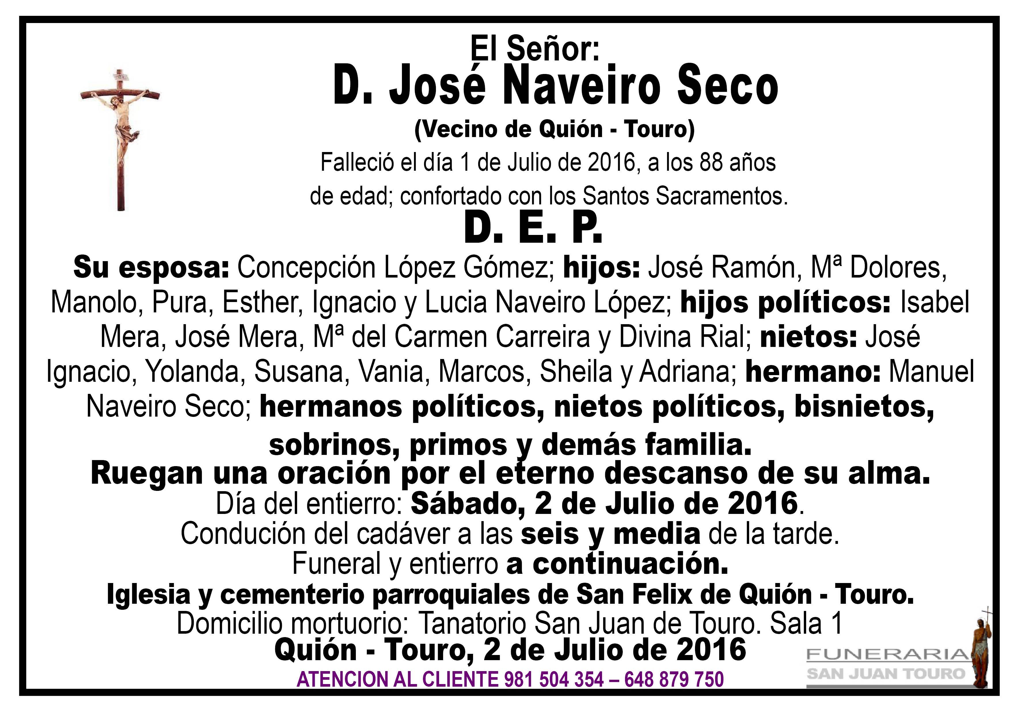 Esquela de SEPELIO D. JOSÉ NAVEIRO SECO