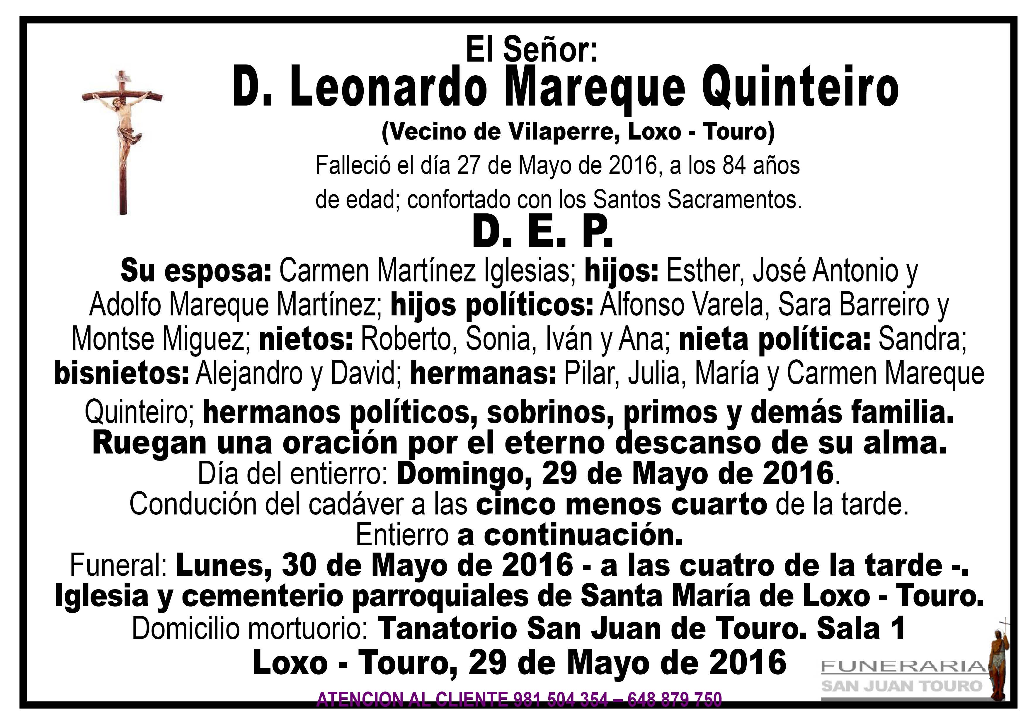 Esquela de SEPELIO D. LEONARDO MAREQUE QUINTEIRO