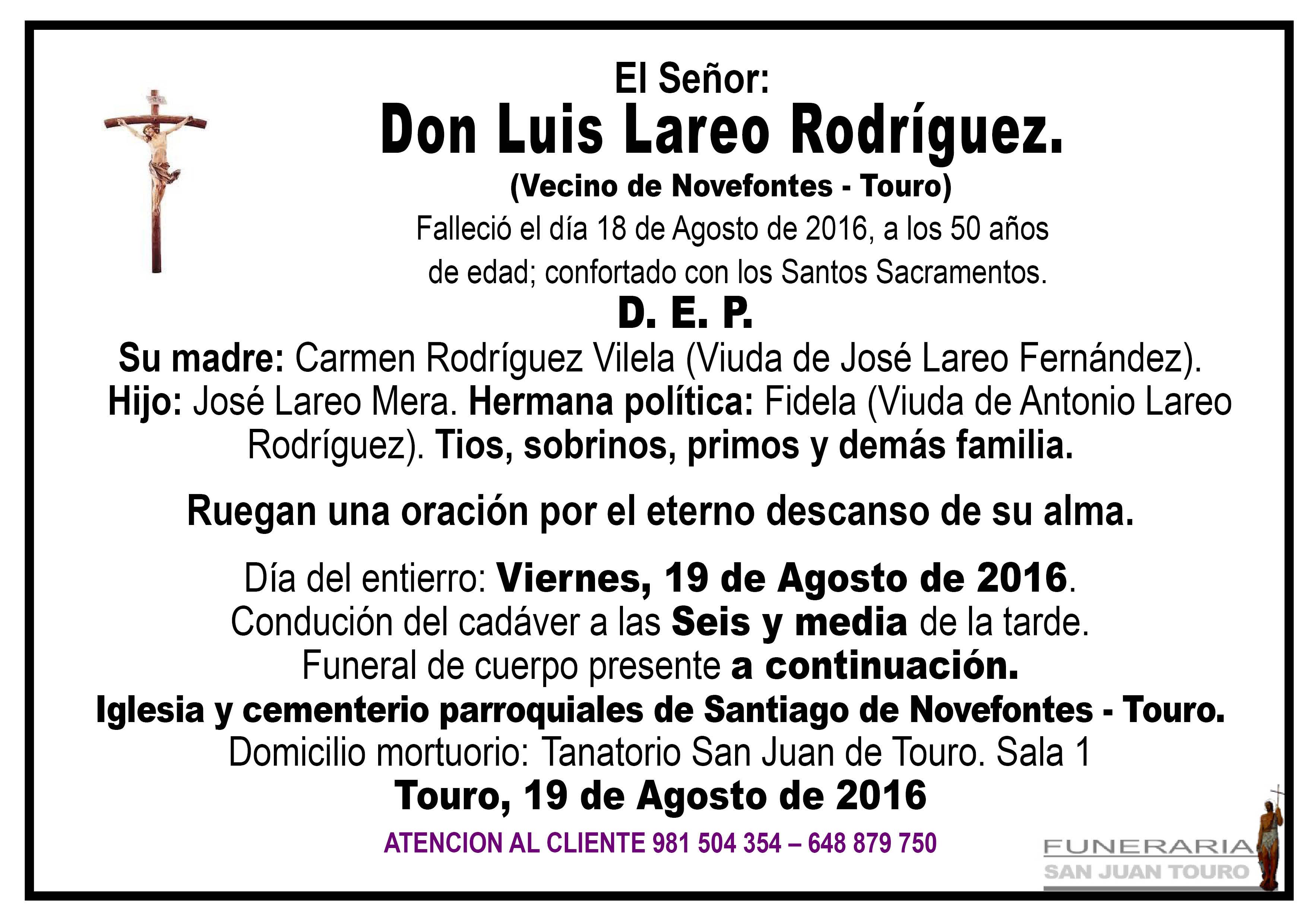 Esquela de SEPELIO D. LUIS LAREO RODRÍGUEZ