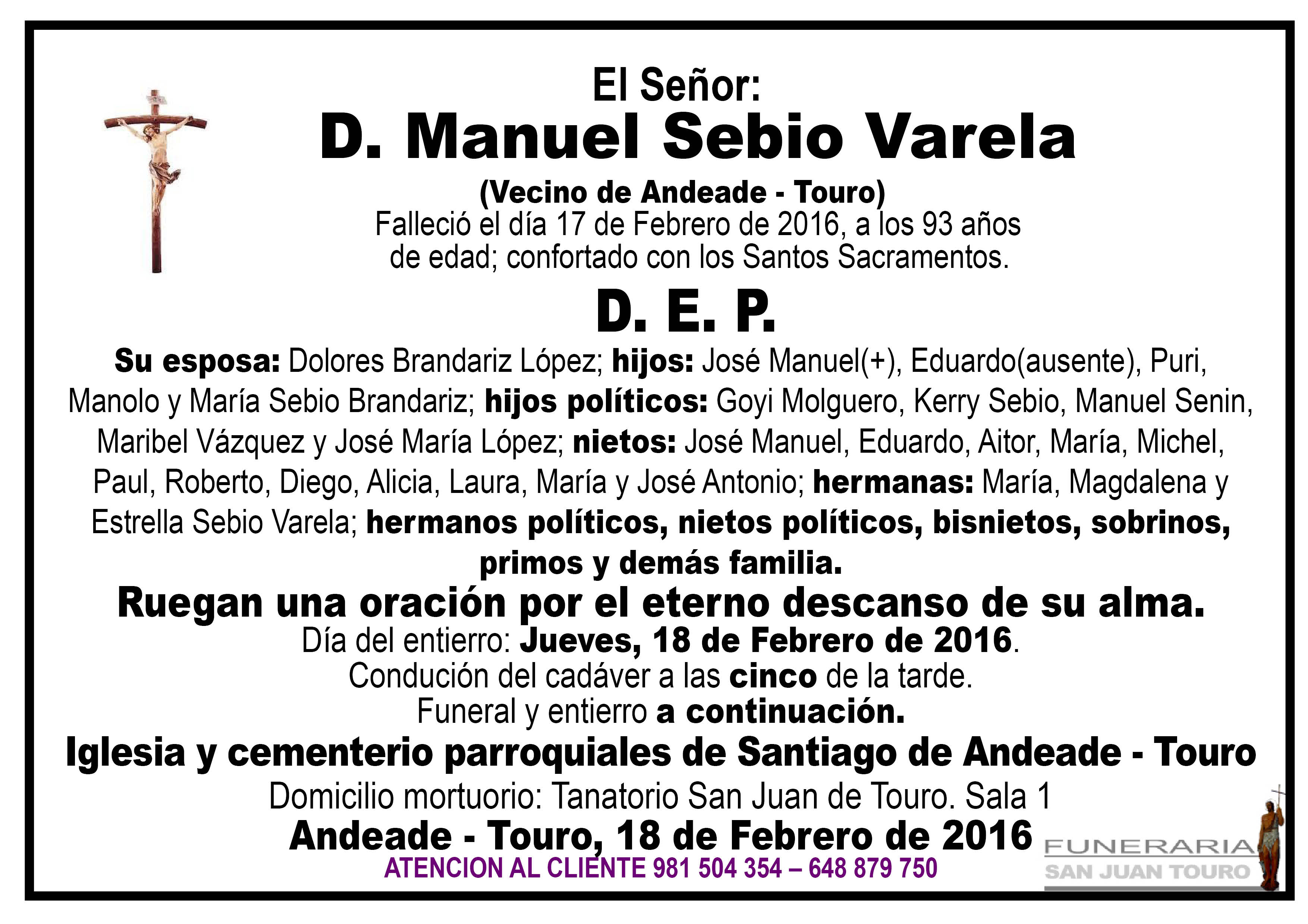 Esquela de SEPELIO D. MANUEL SEBIO VARELA