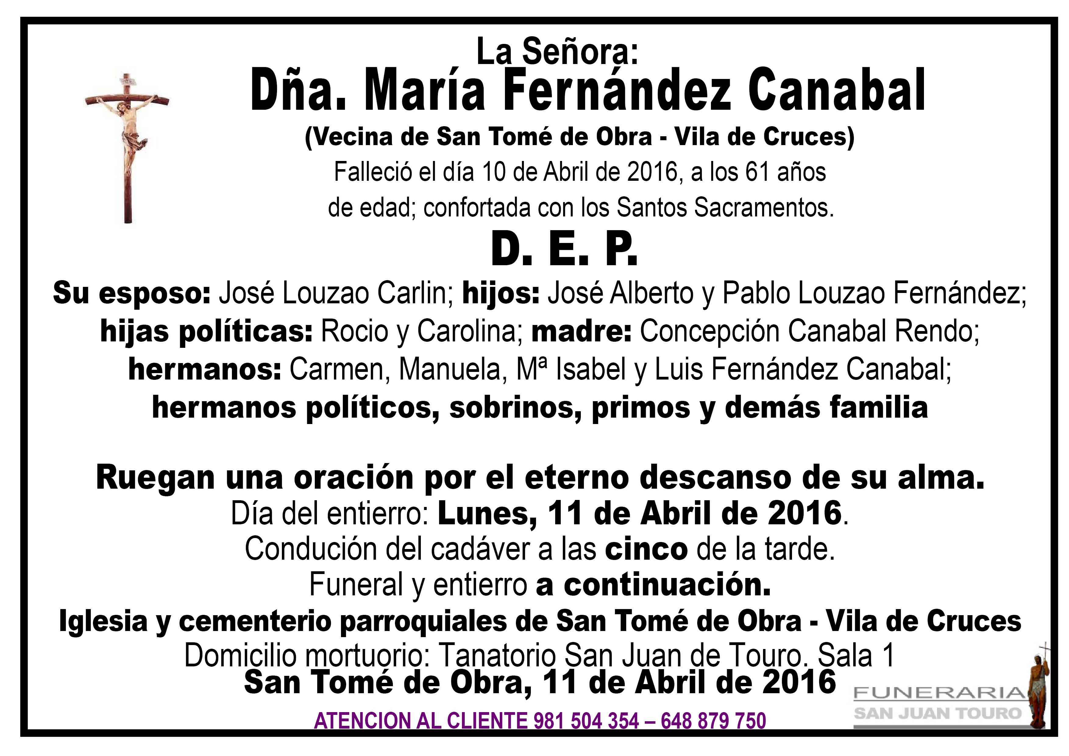 Esquela de SEPELIO DÑA. MARÍA FERNÁNDEZ CANABAL