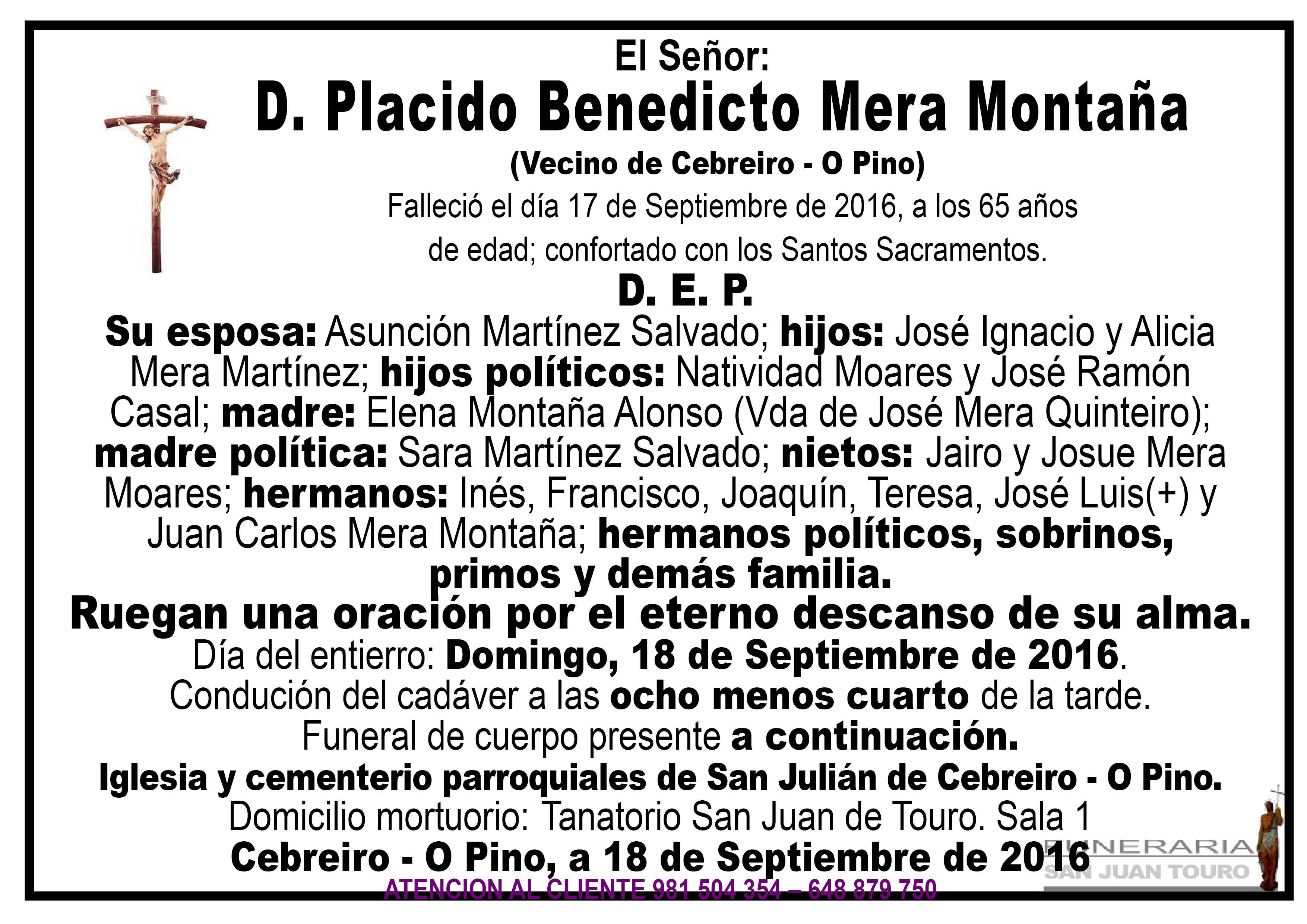 Esquela de SEPELIO D. PLACIDO BENEDICTO MERA MONTAÑA