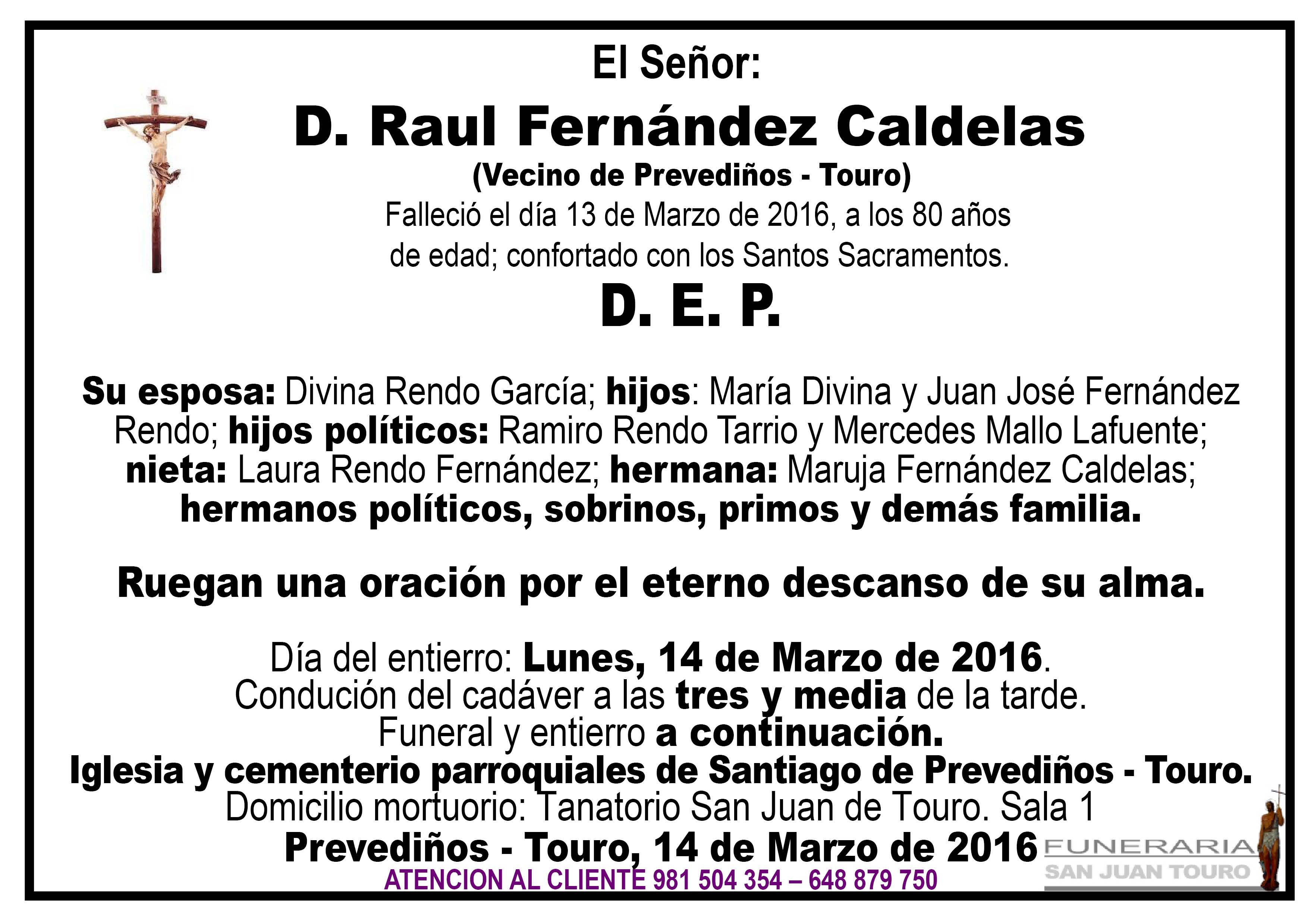 Esquela de SEPELIO D. RAUL FERNÁNDEZ CALDELAS