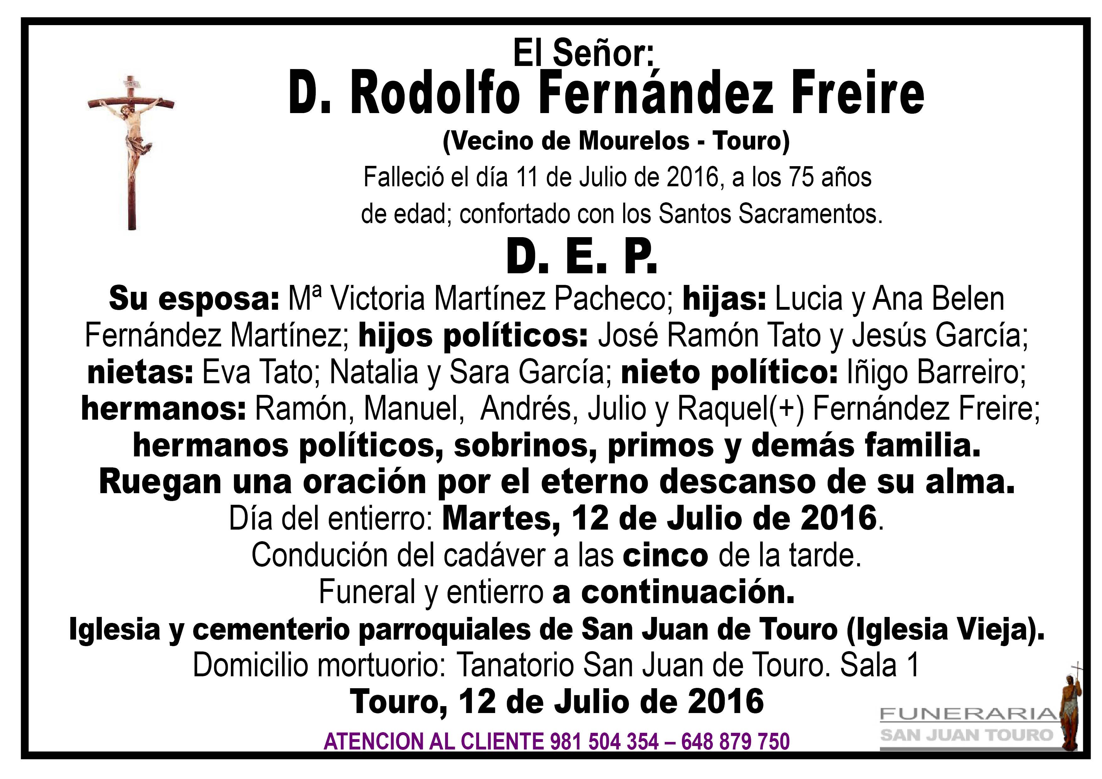 Esquela de SEPELIO D. RODOLFO FERNÁNDEZ FREIRE