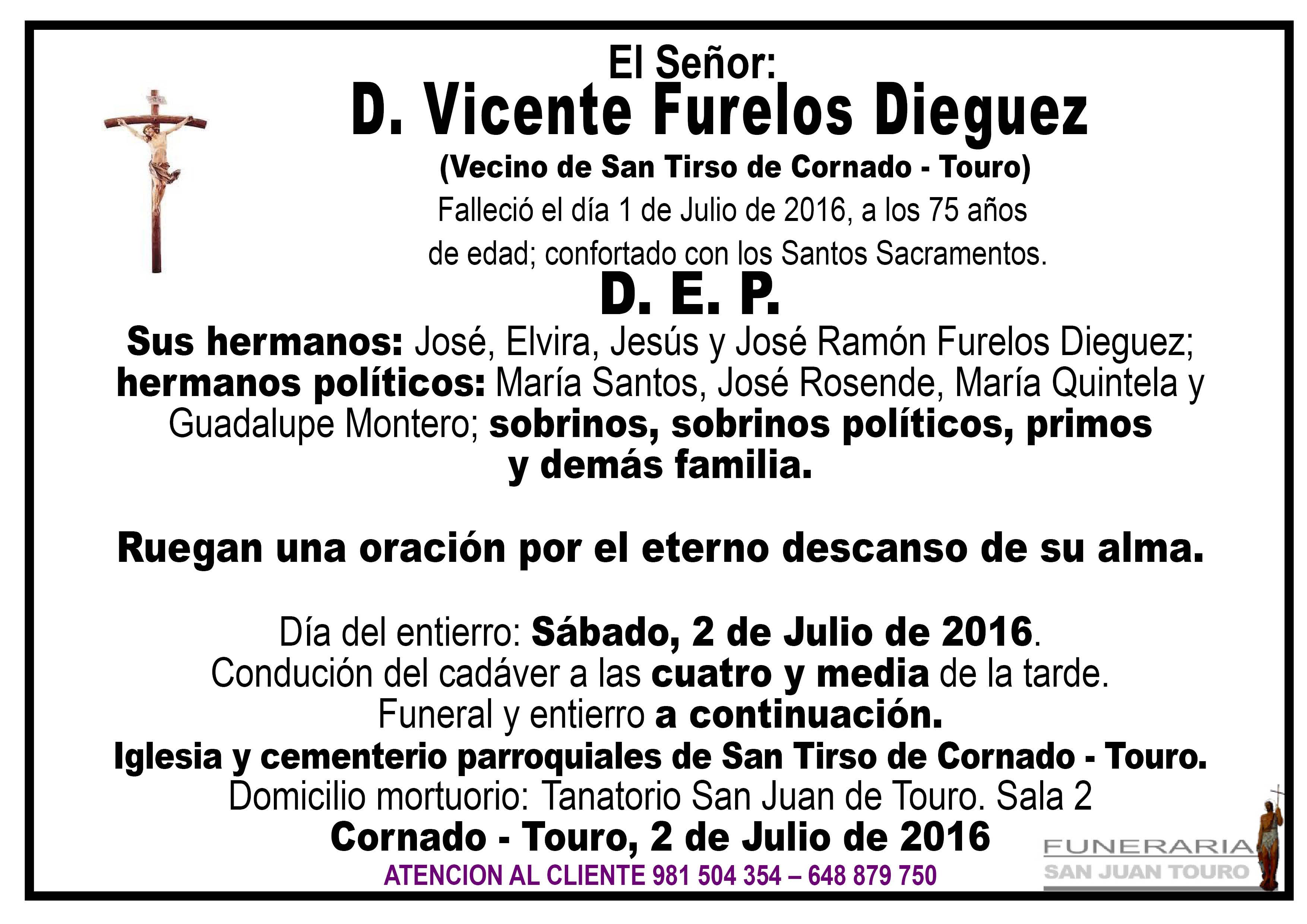 Esquela de SEPELIO D. VICNETE FURELOS DIEGUEZ