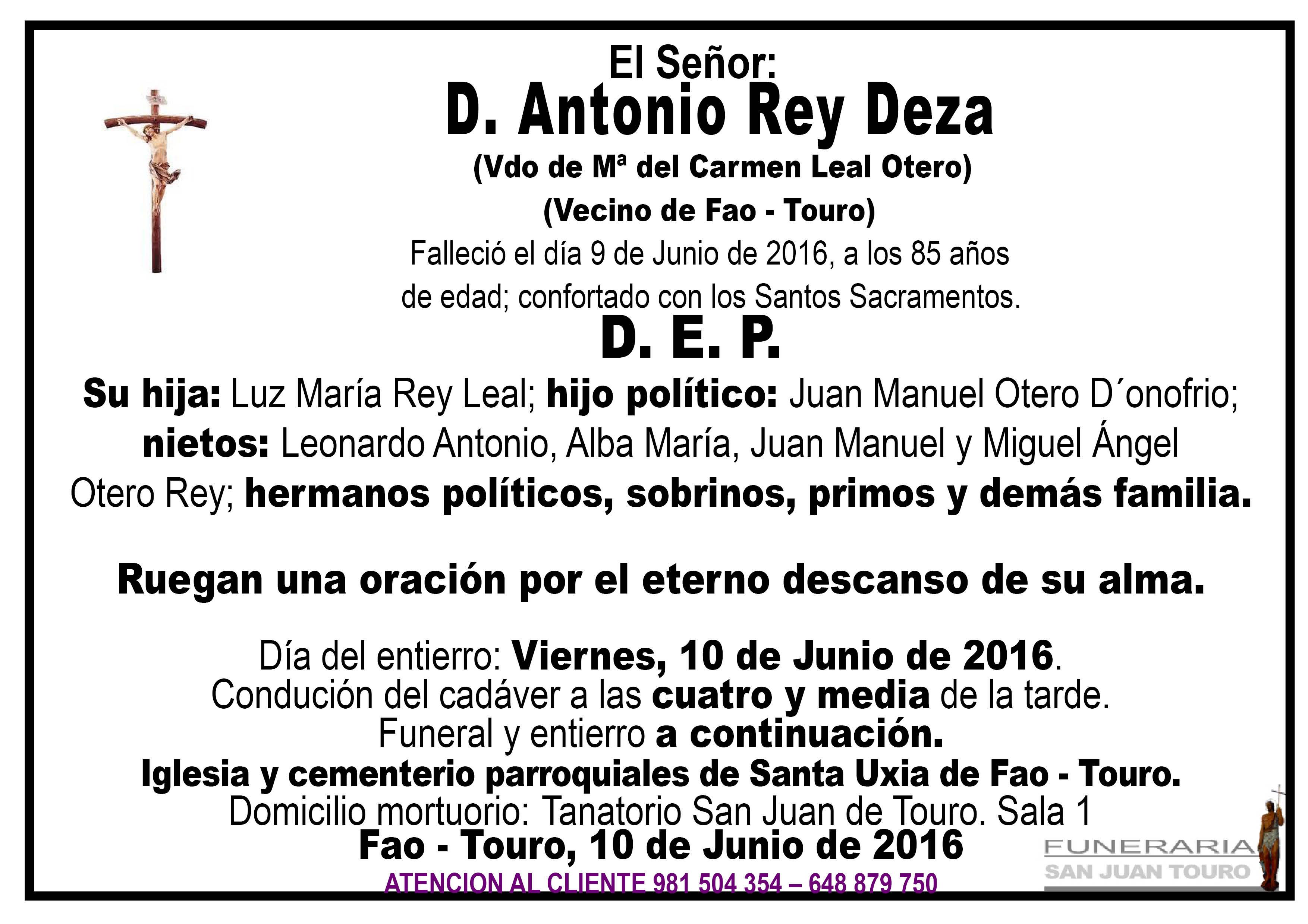Esquela de SEPELIO D. ANTONIO REY DEZA