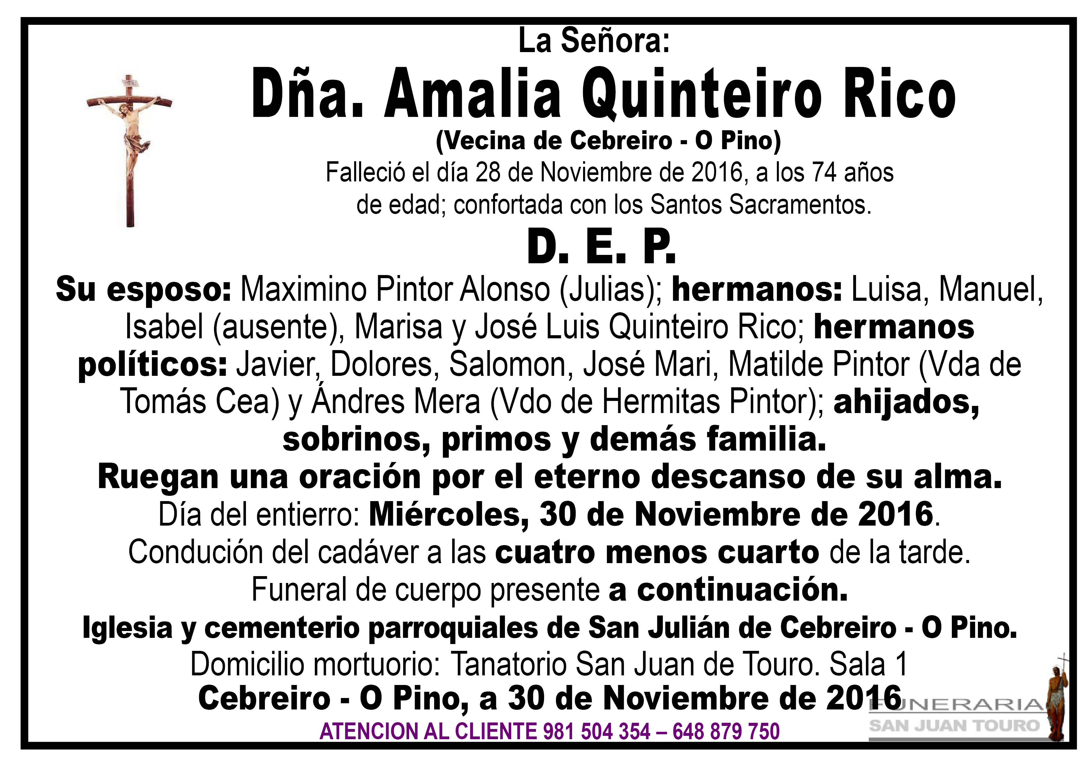 Esquela de SEPELIO DÑA AMALIA QUINTEIRO RICO