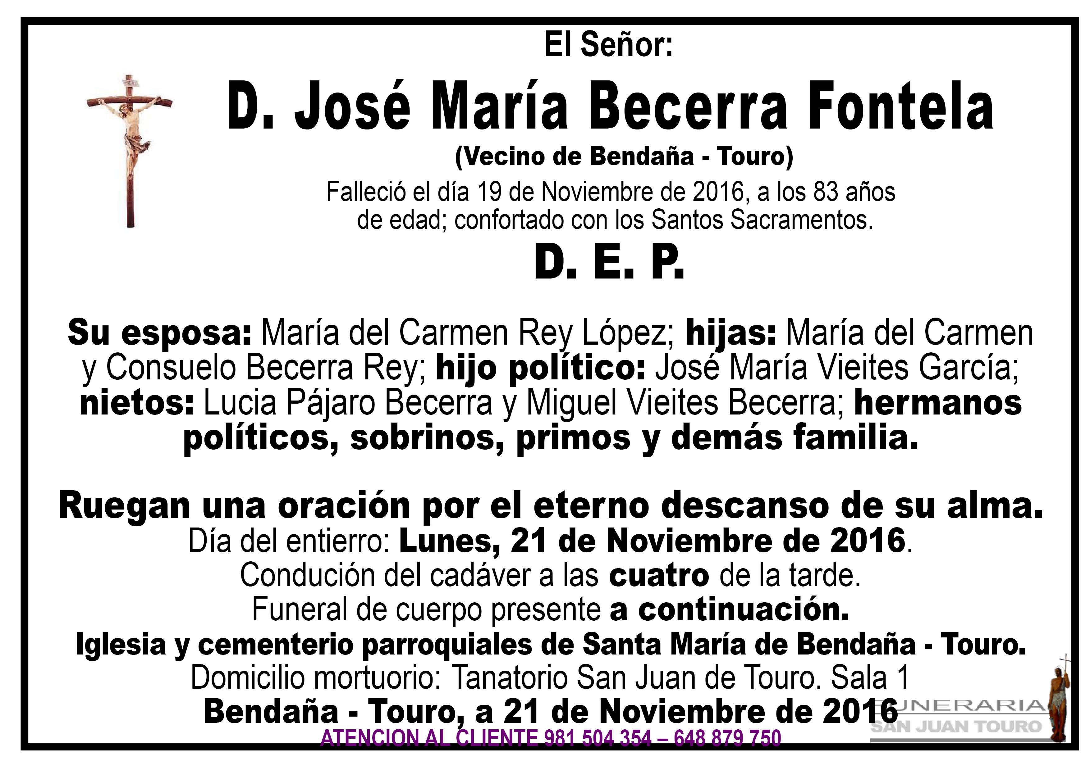 Esquela de SEPELIO D JOSÉ MARÍA BECERRA FONTELA