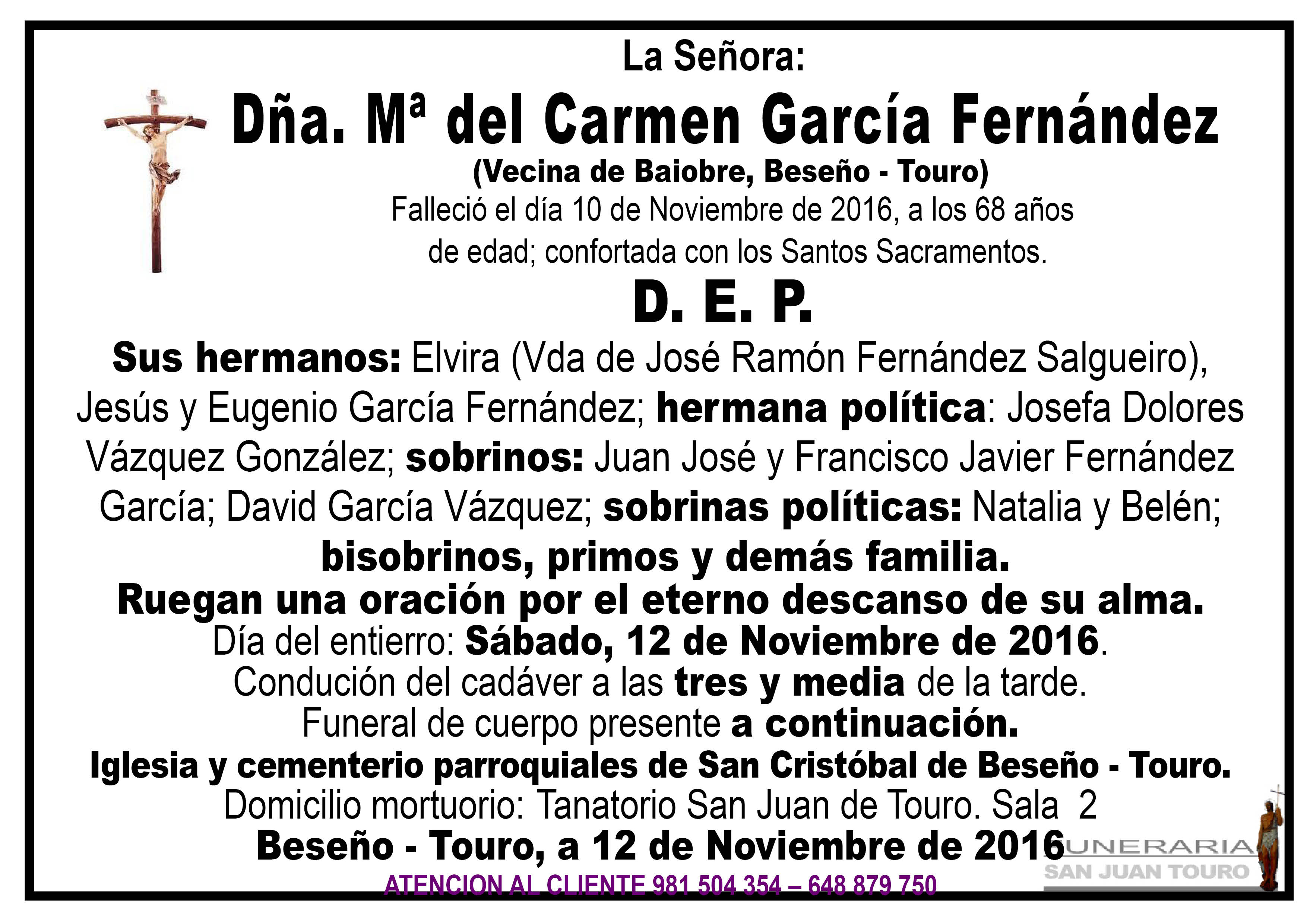 Esquela de SEPELIO DÑA Mª DEL CARMEN GARCÍA FERNÁNDEZ