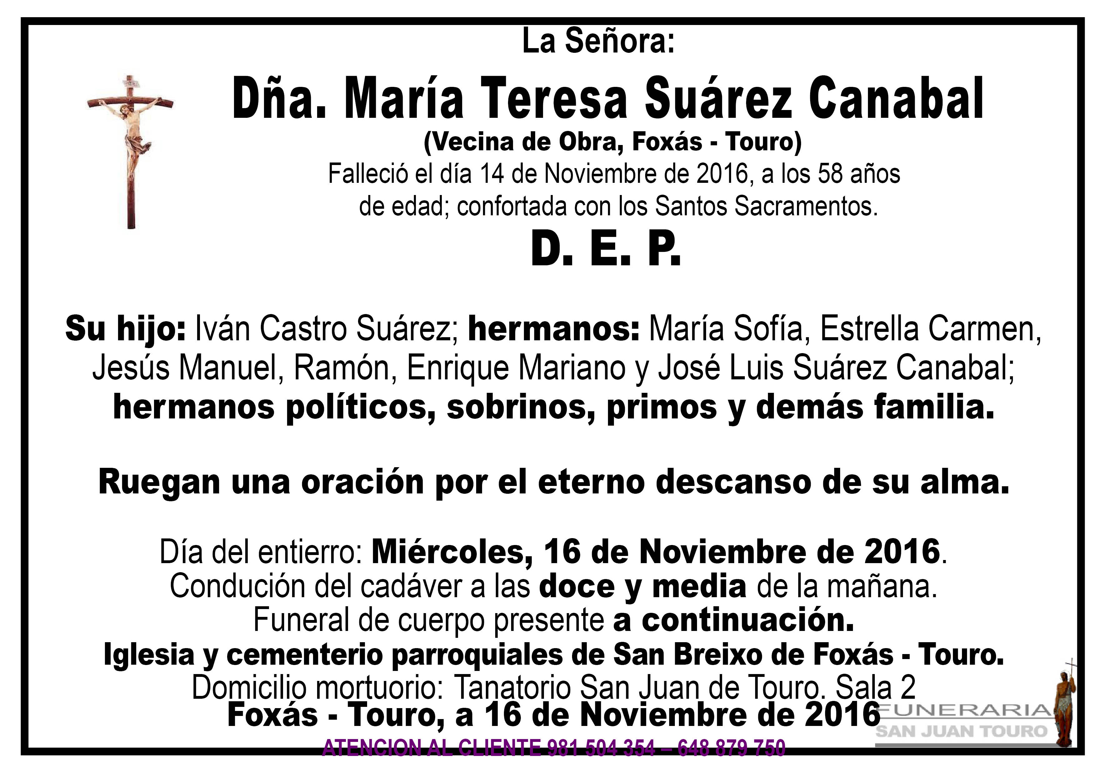 Esquela de SEPELIO DÑA MARÍA TERESA SUÁREZ CANABAL