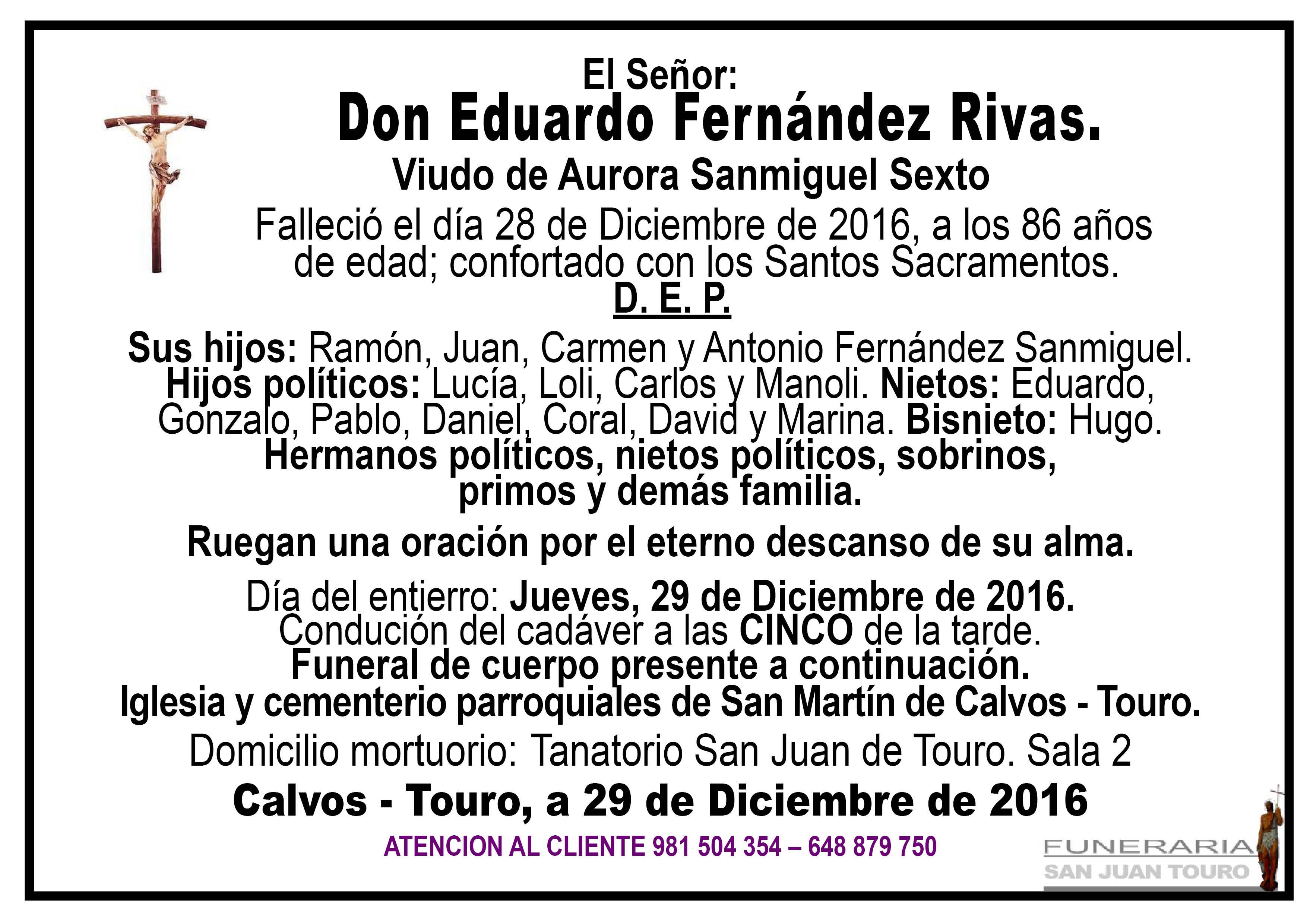 Esquela de Sepelio D Eduardo Fernández Rivas.
