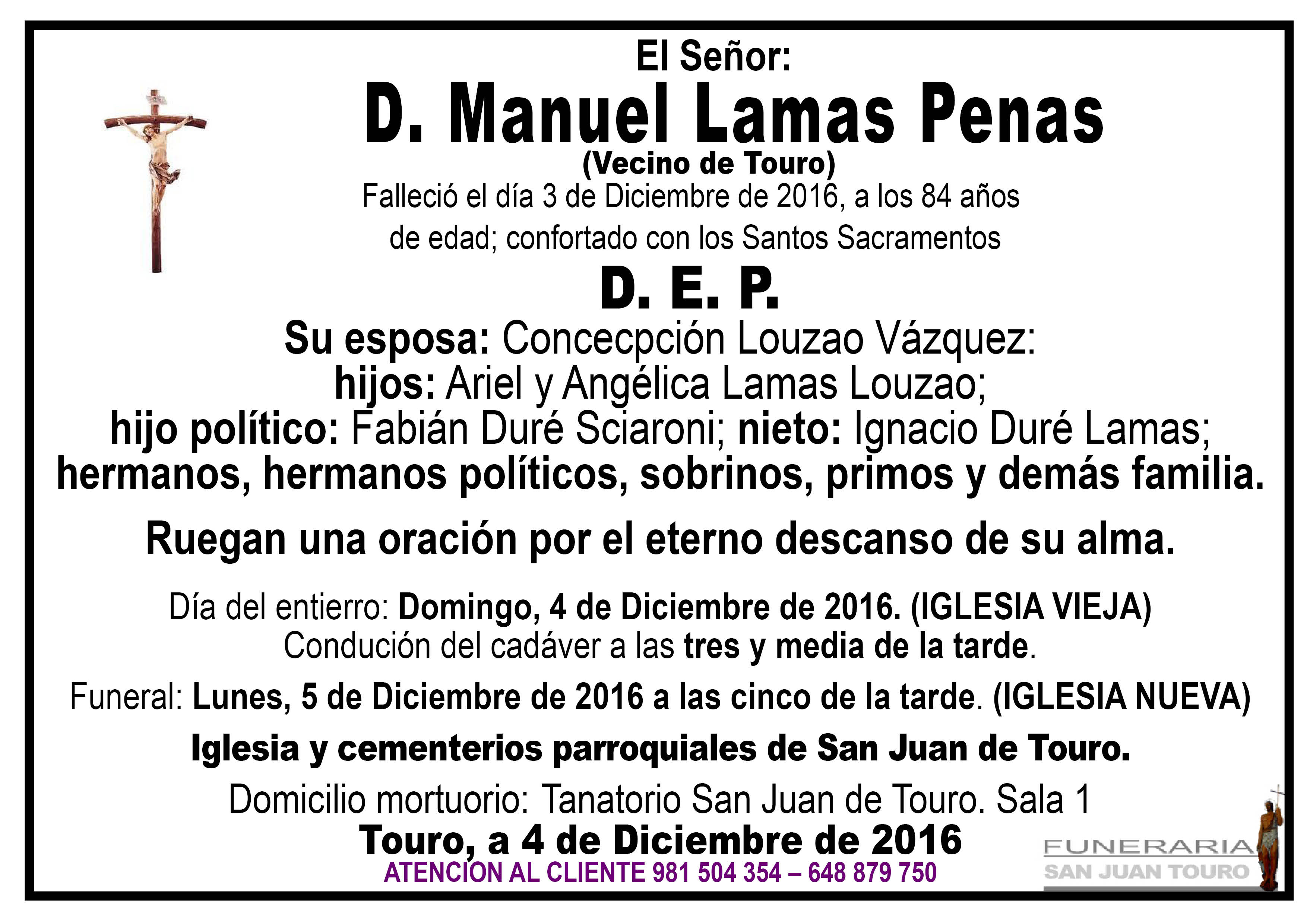 Esquela de SEPELIO D MANUEL LAMAS PENAS