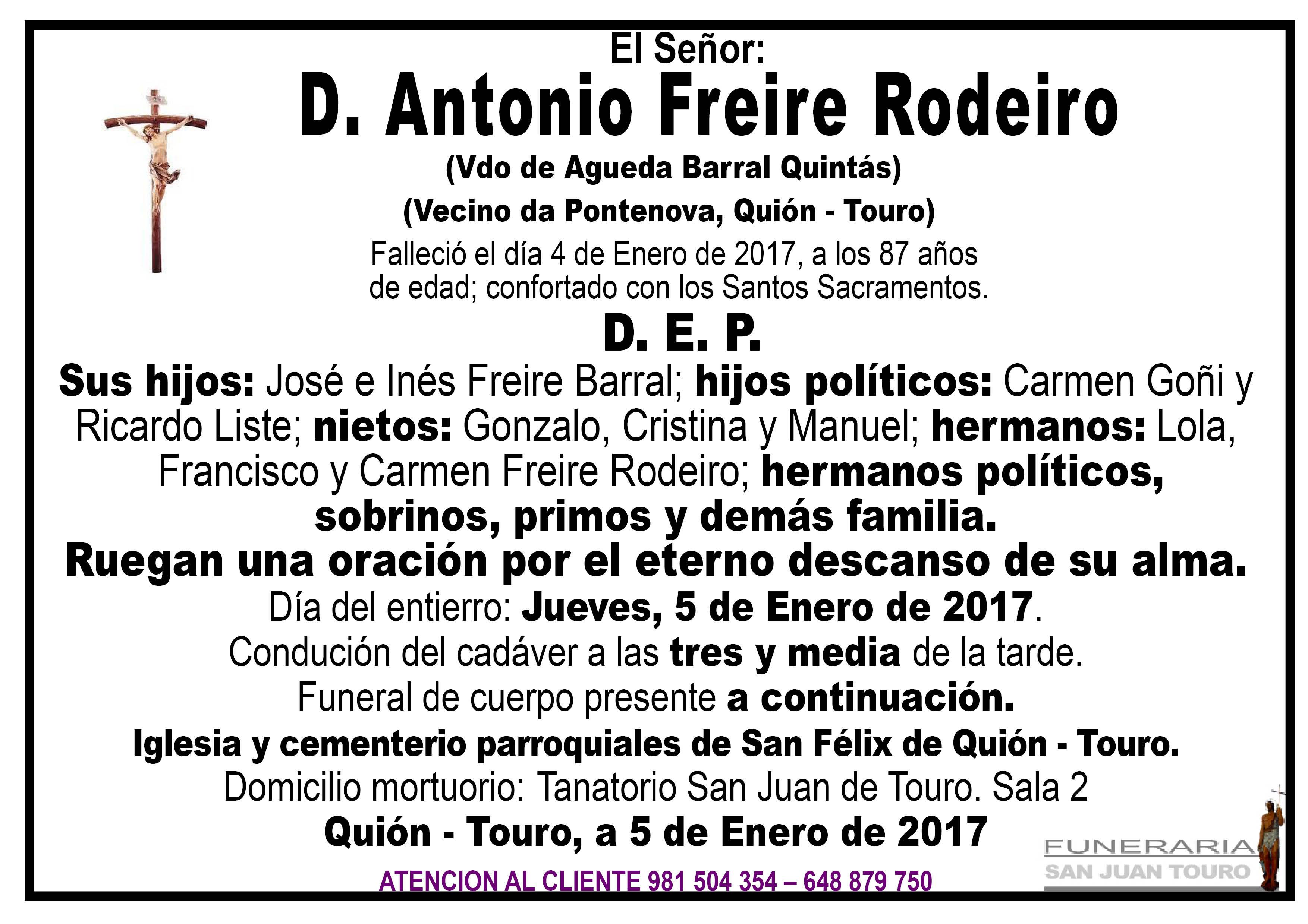 Esquela de SEPELIO DE D ANTONIO FREIRE RODEIRO