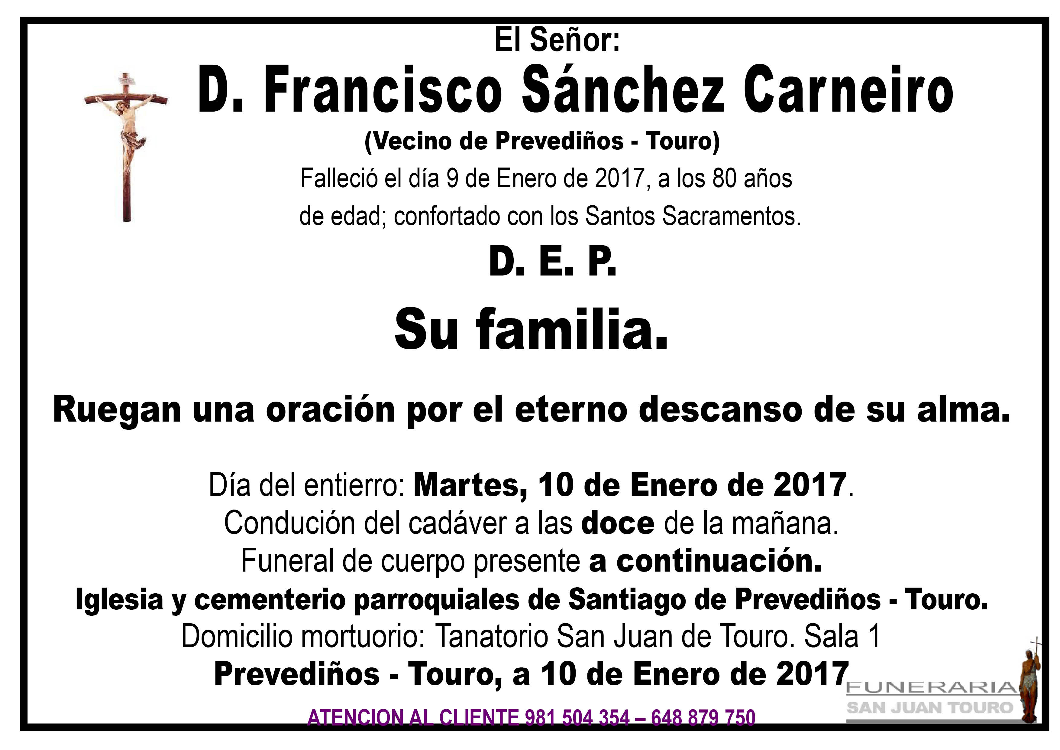 Esquela de SEPELIO DE D FRANCISCO SÁNCHEZ CARNEIRO