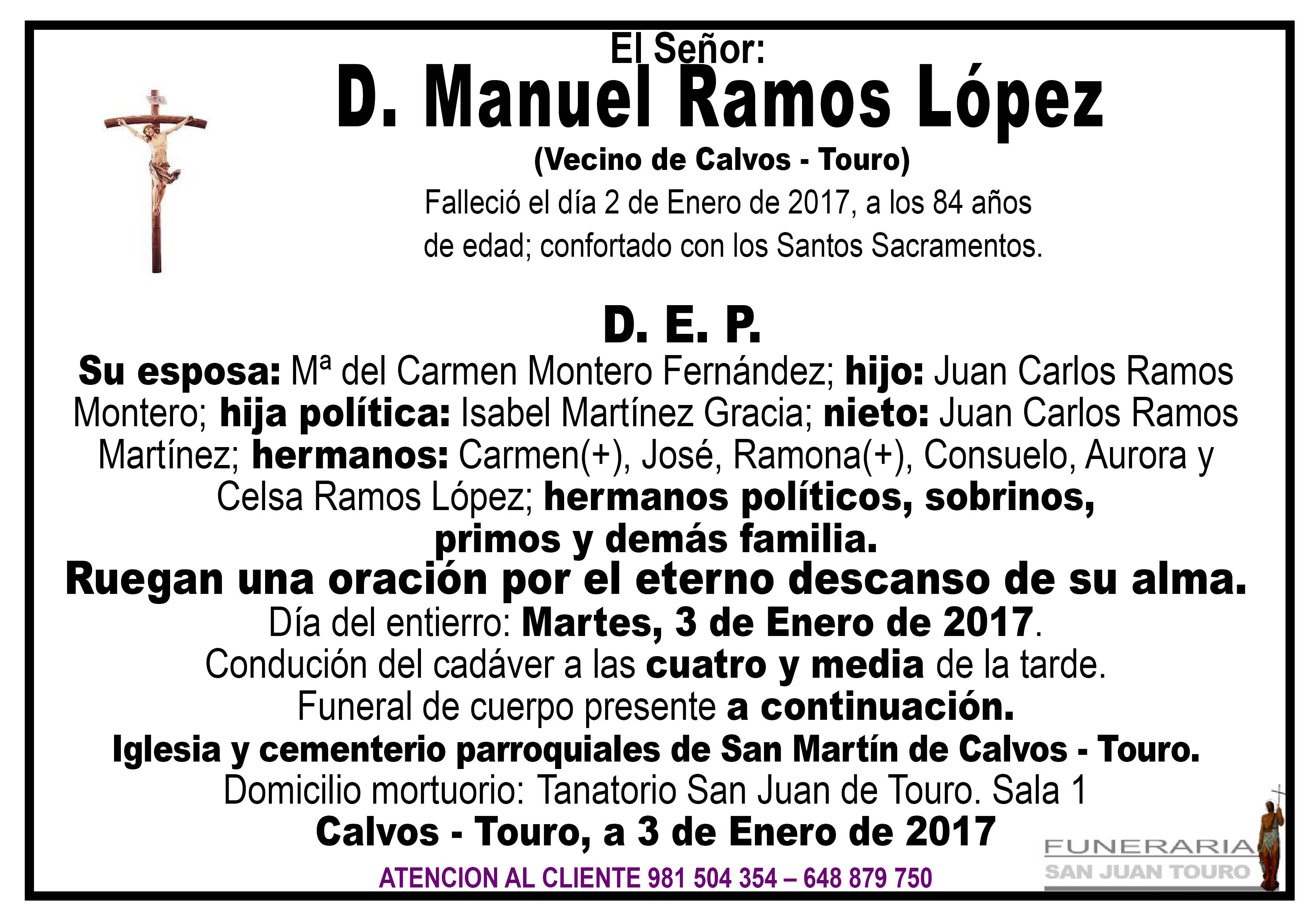 Esquela de SEPELIO DE D MANUEL RAMOS LÓPEZ