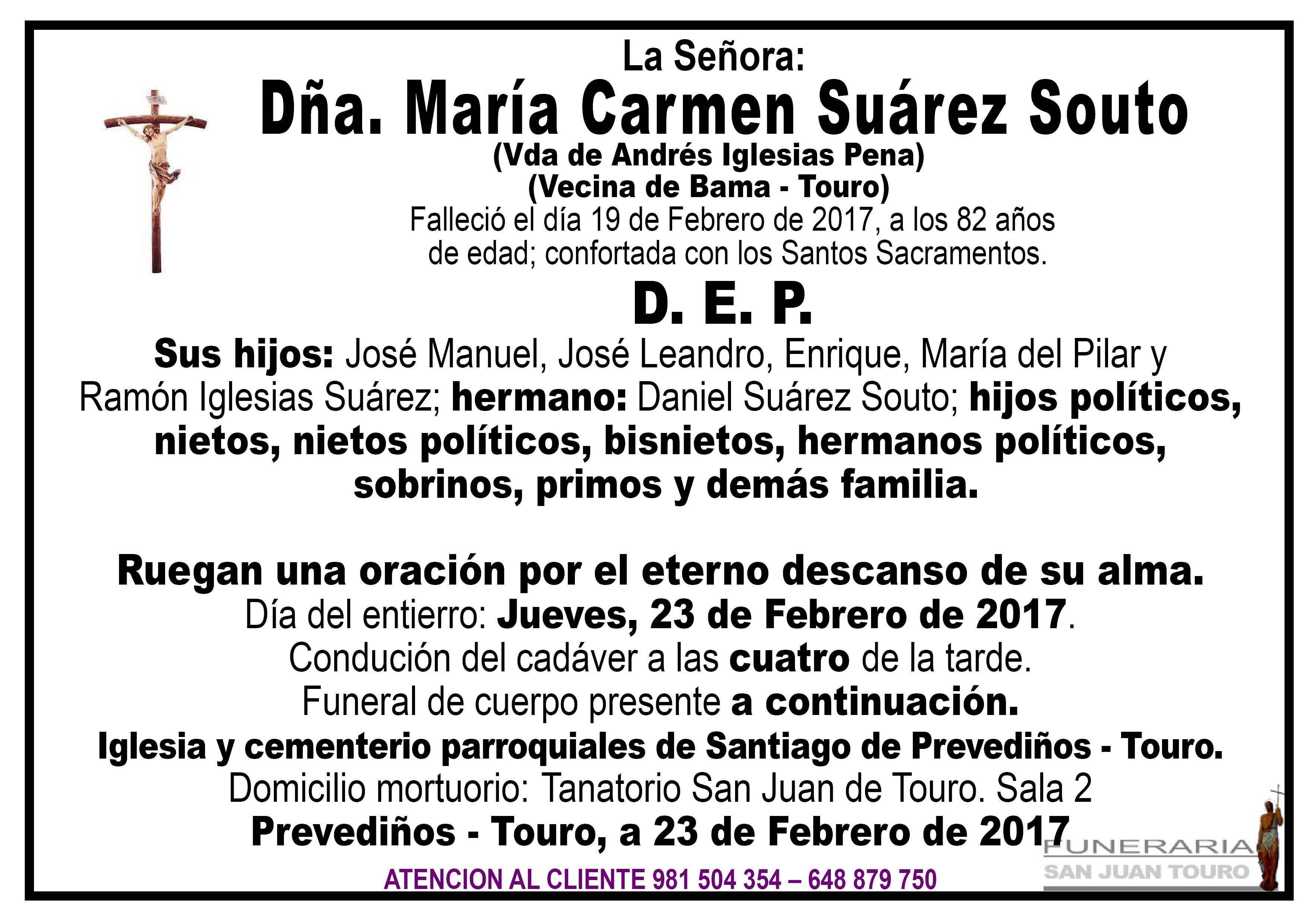 Esquela de SEPELIO DÑA MARÍA CARMEN SUÁREZ SOUTO