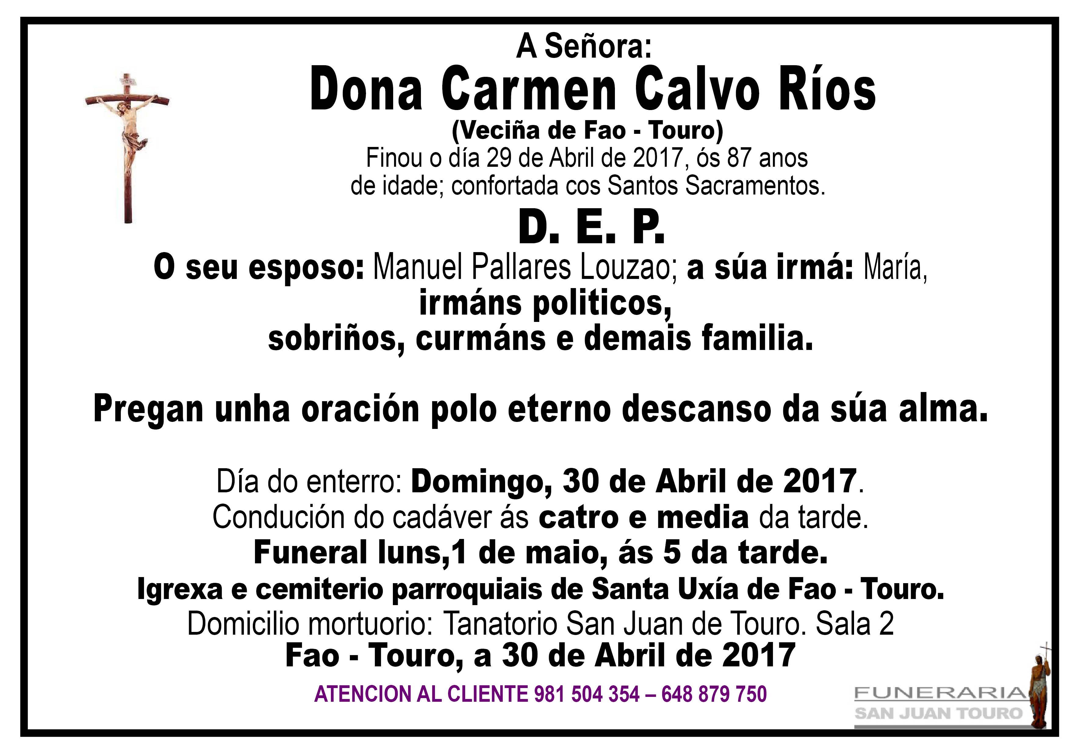 Esquela de Dona Carmen Calvo Ríos