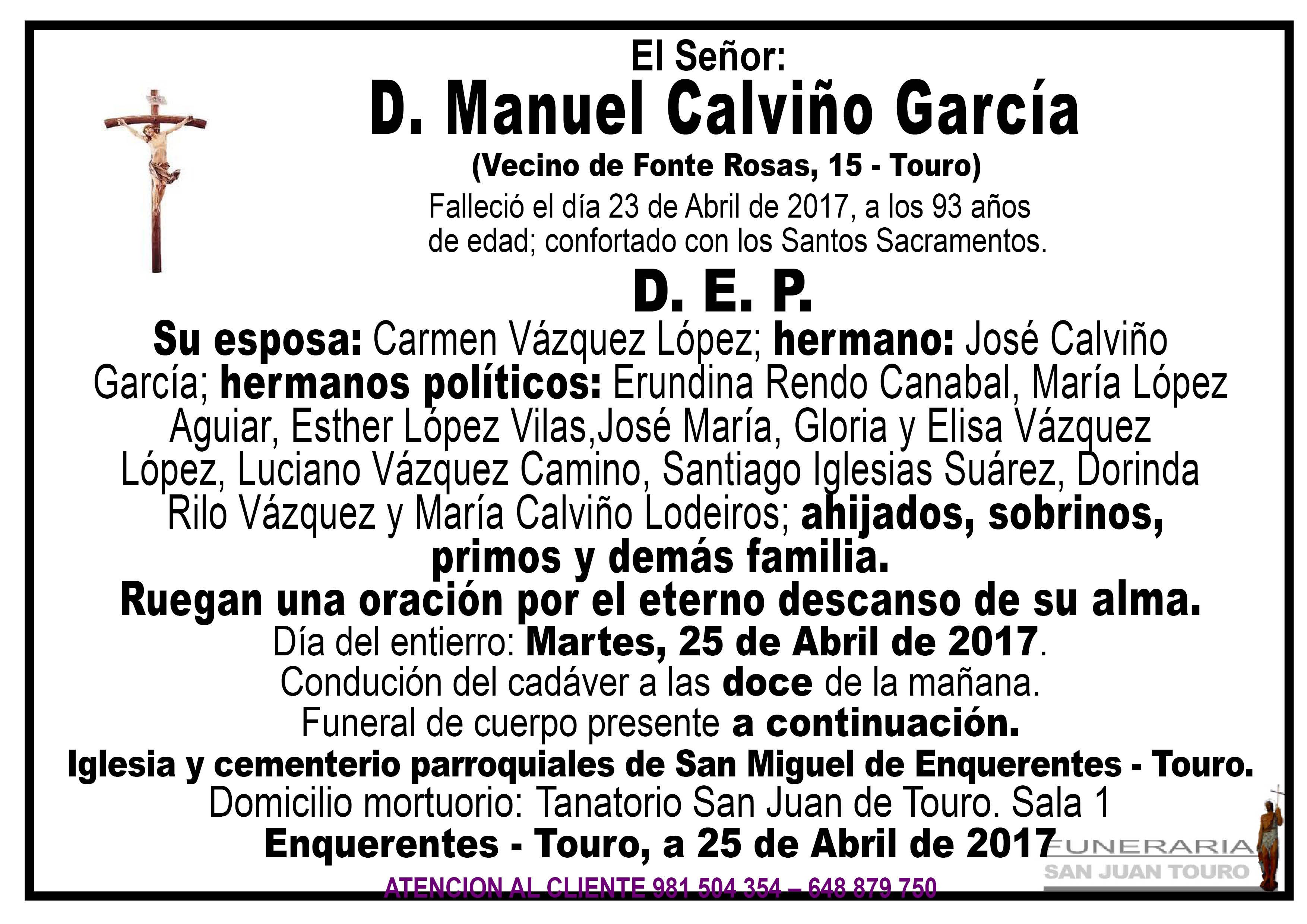 Esquela de SEPELIO D MANUEL CALVIÑO GARCÍA