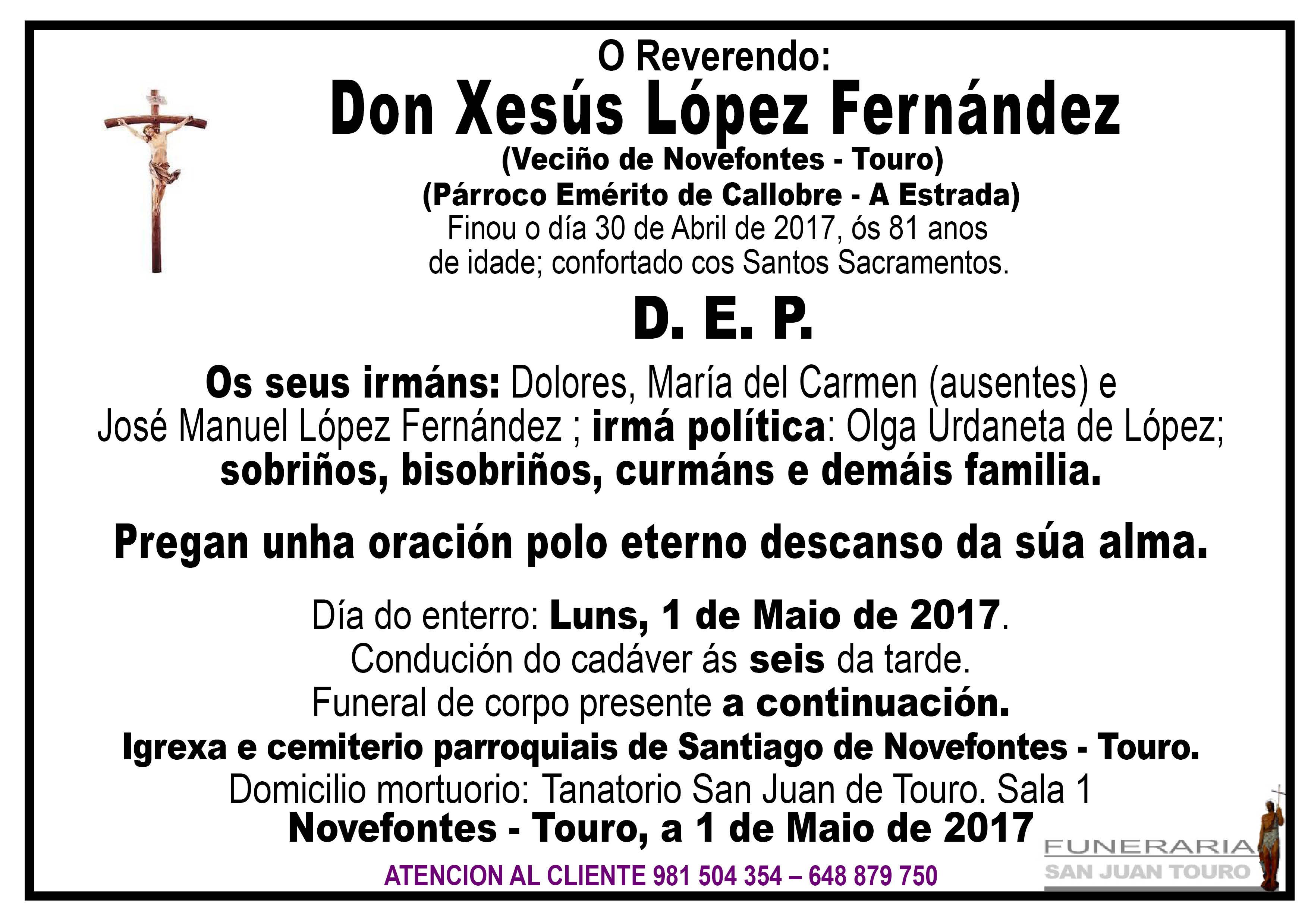 Esquela de Don Xesús López Fernández