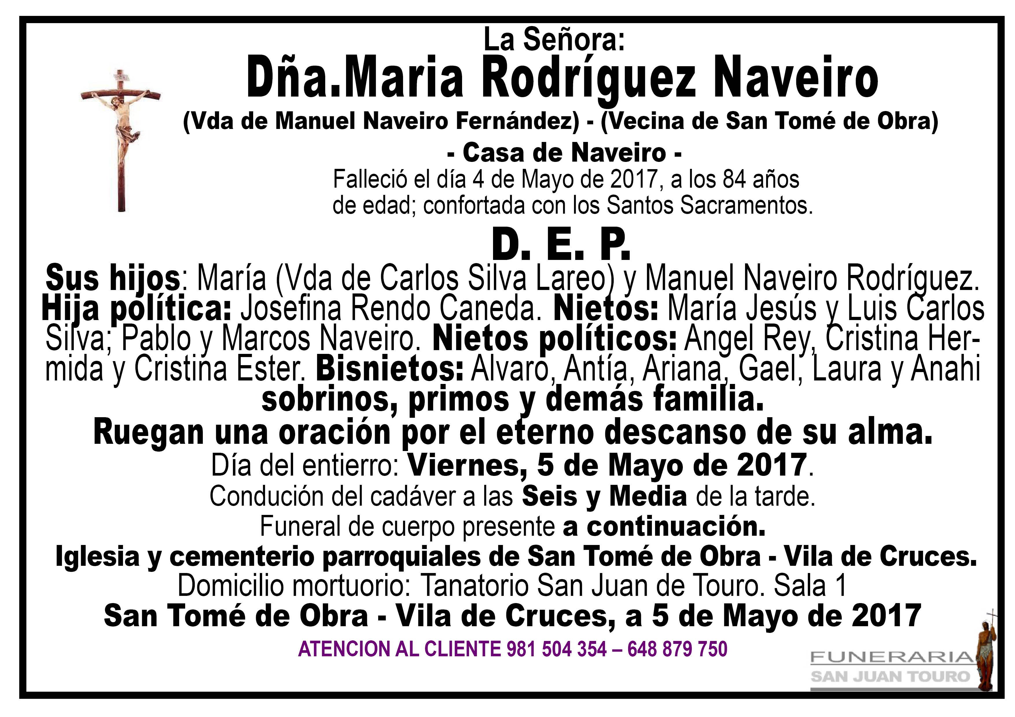Esquela de María Rodríguez Naveiro.