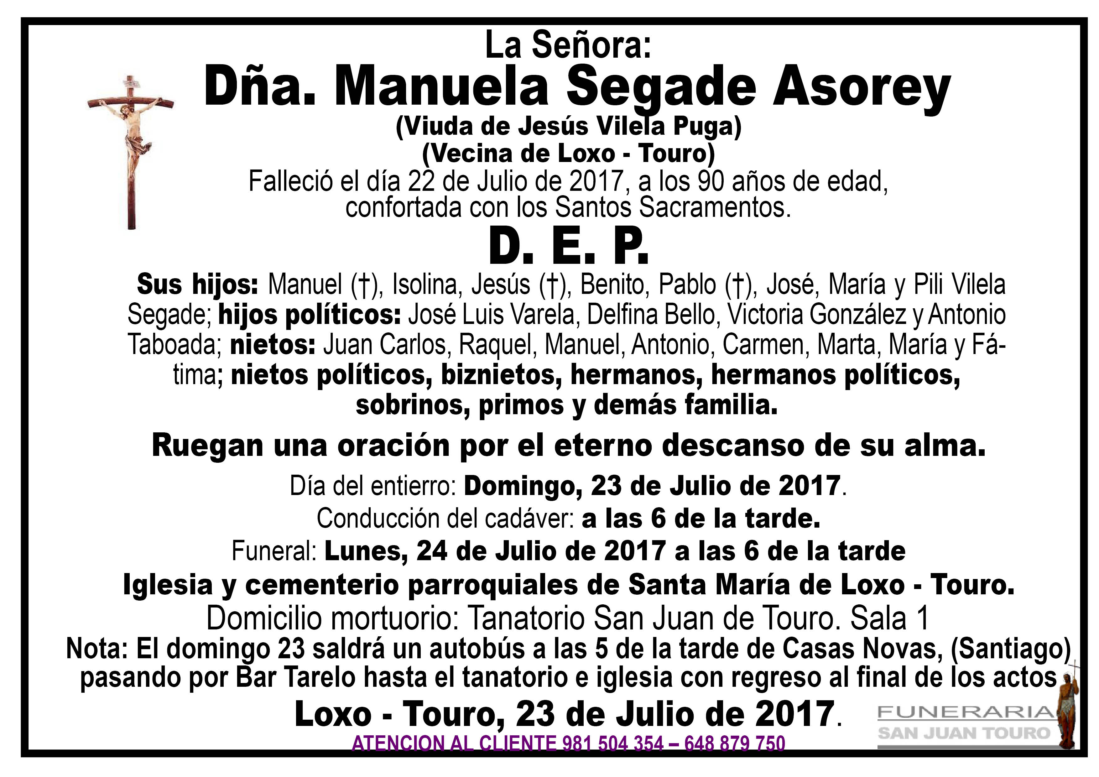 Esquela de SEPELIO DE DÑA. MANUELA SEGADE ASODEY