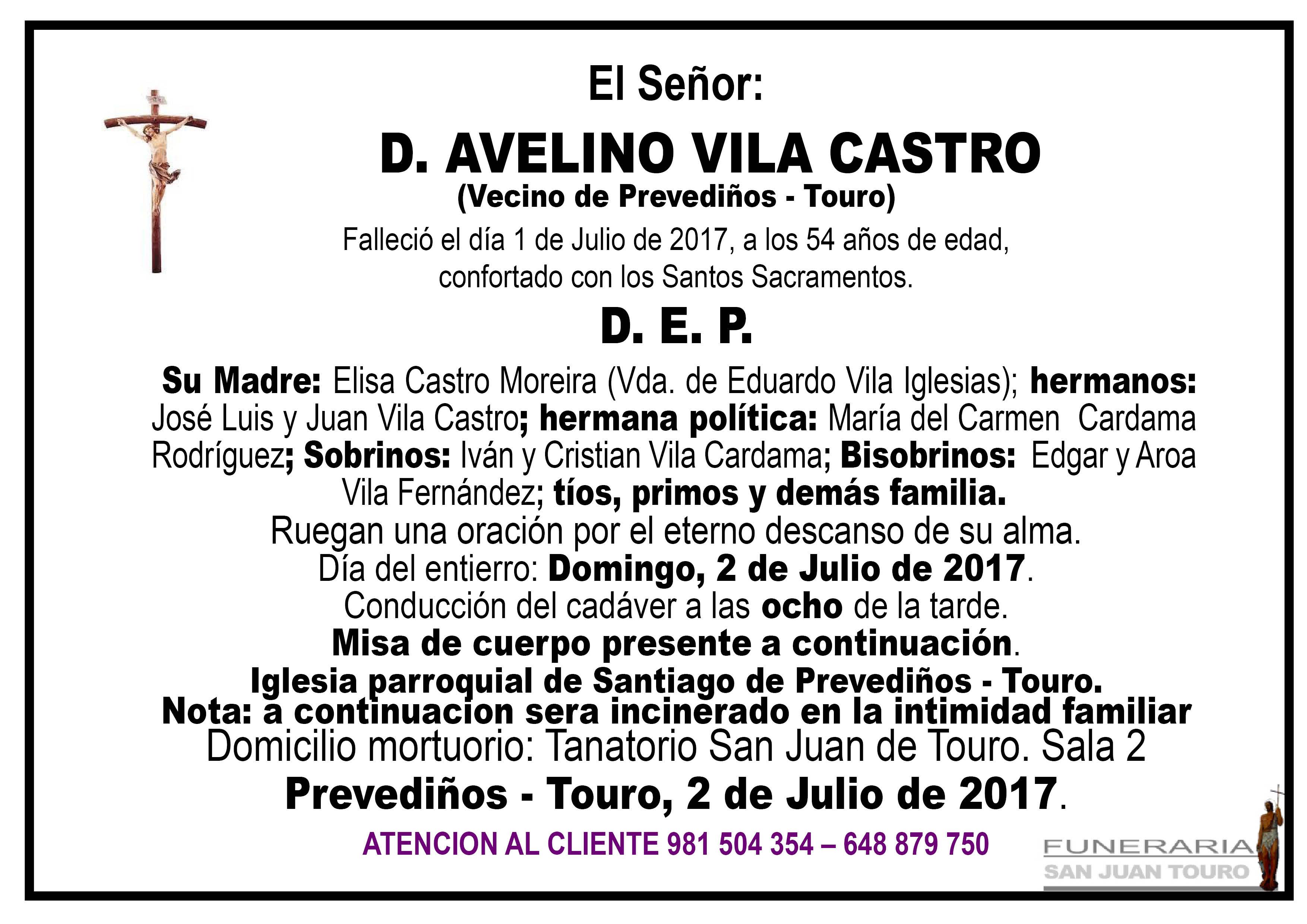 Esquela de SEPELIO DE DON AVELINO VILA CASTRO