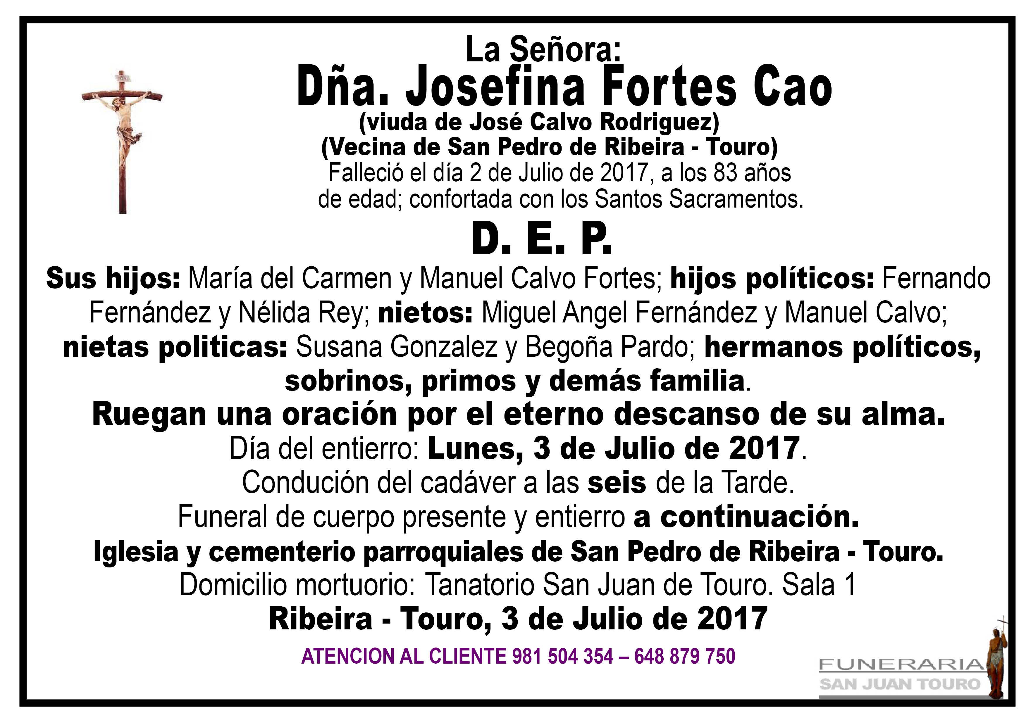 Esquela de SEPELIO DE DÑA JOSEFINA FORTES CAO