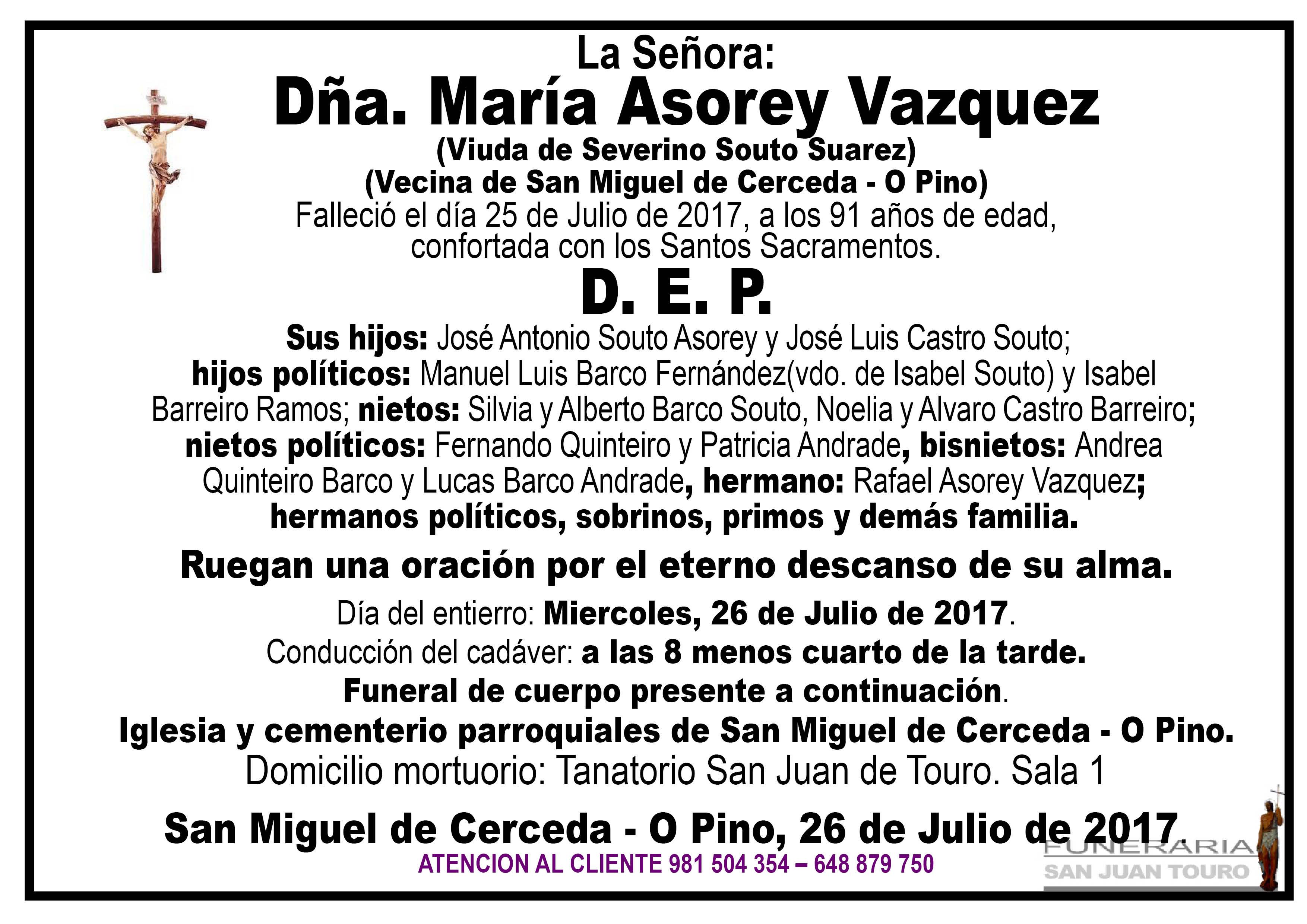 Esquela de SEPELIO DE DÑA. MARIA ASOREY VAZQUEZ
