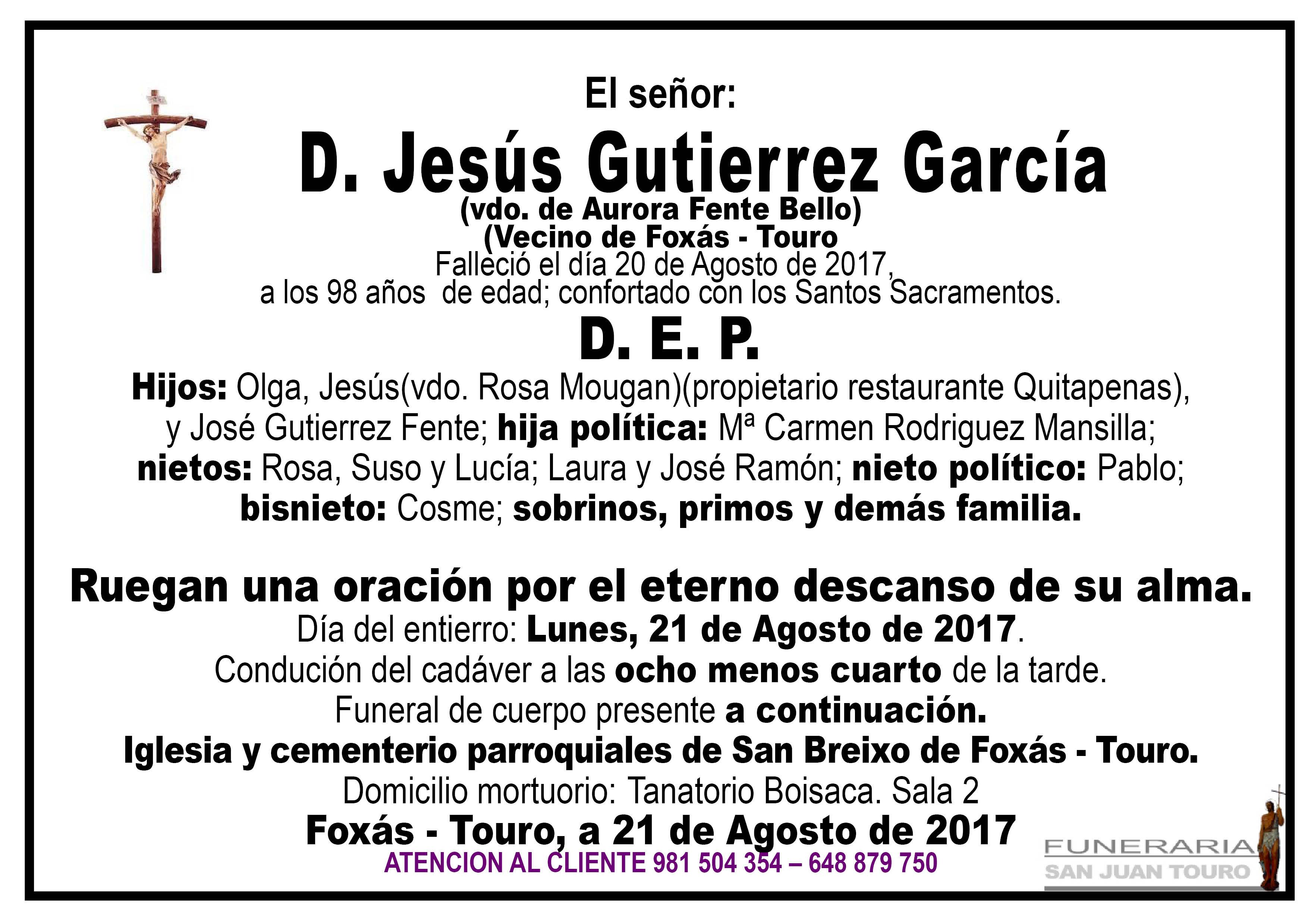 Esquela de SEPELIO DE JESUS GUTIERREZ GARCIA