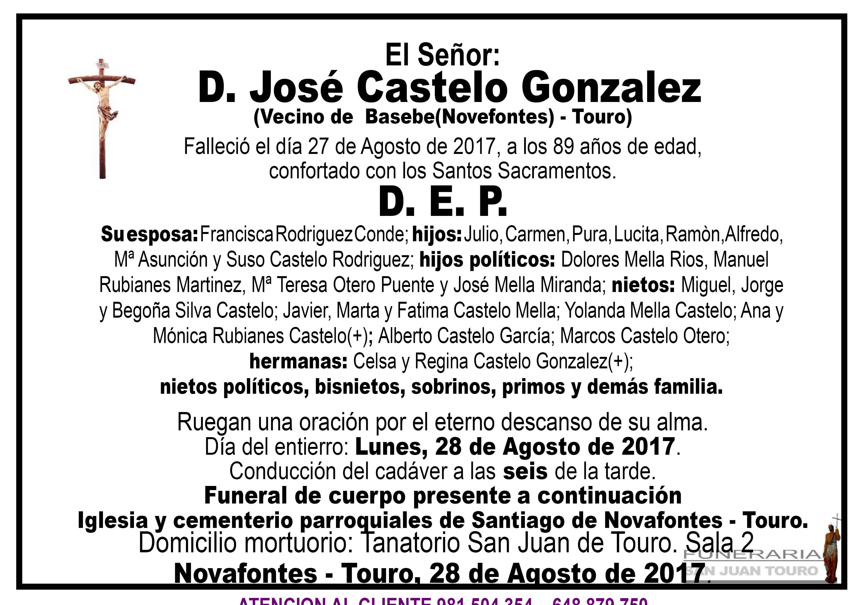 Esquela de SEPELIO DE D. JOSE CASTELO GONZALEZ