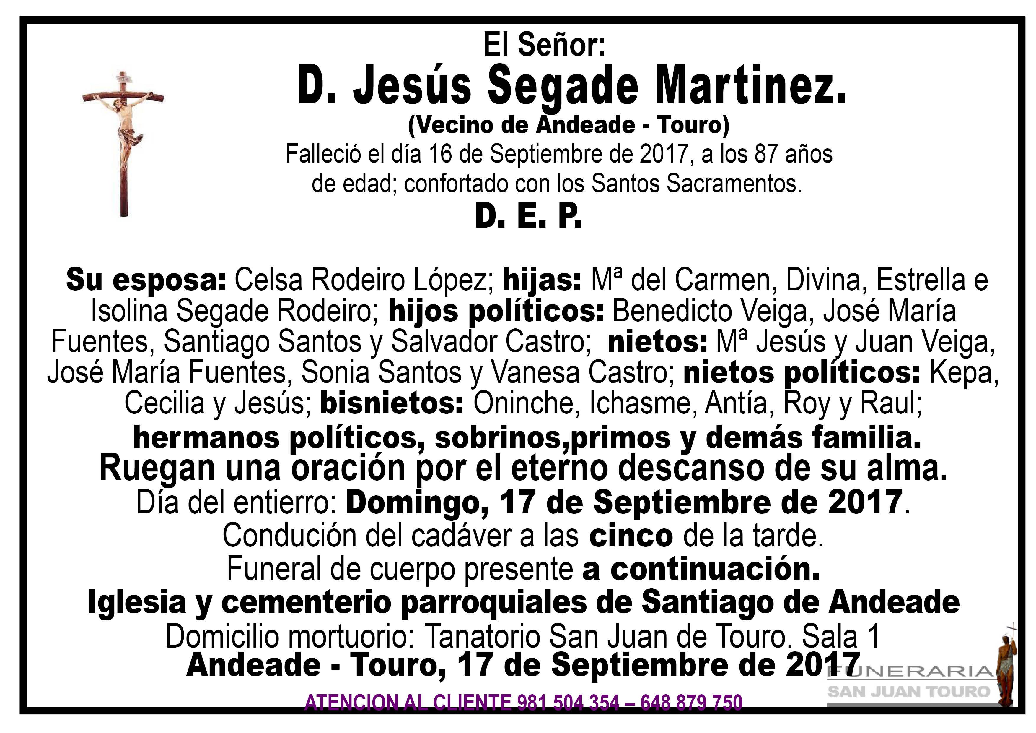 Esquela de SEPELIO DE JESUS SEGADE MARTINEZ