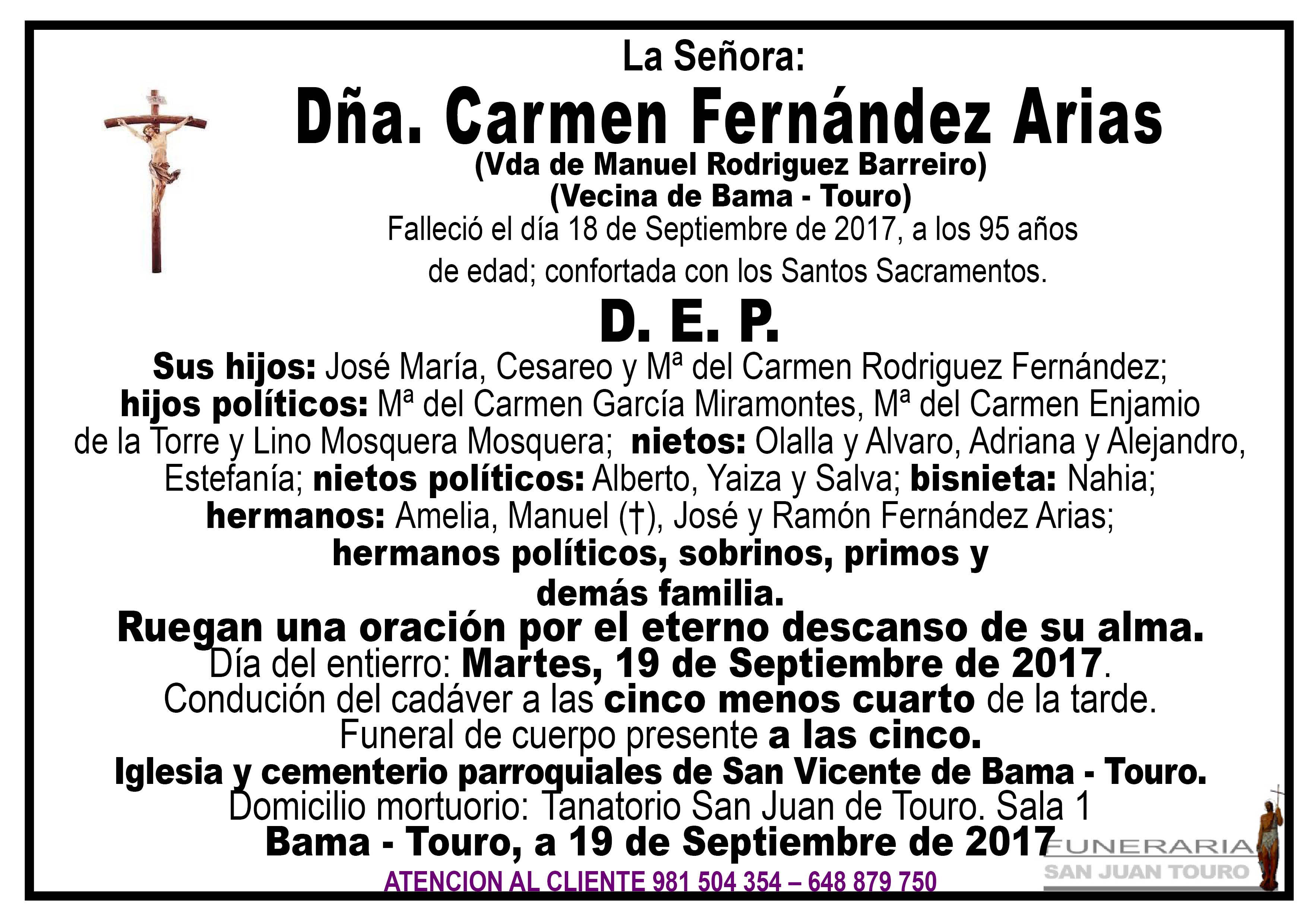 Esquela de SEPELIO DE DÑA CARMEN FERNANDEZ ARIAS