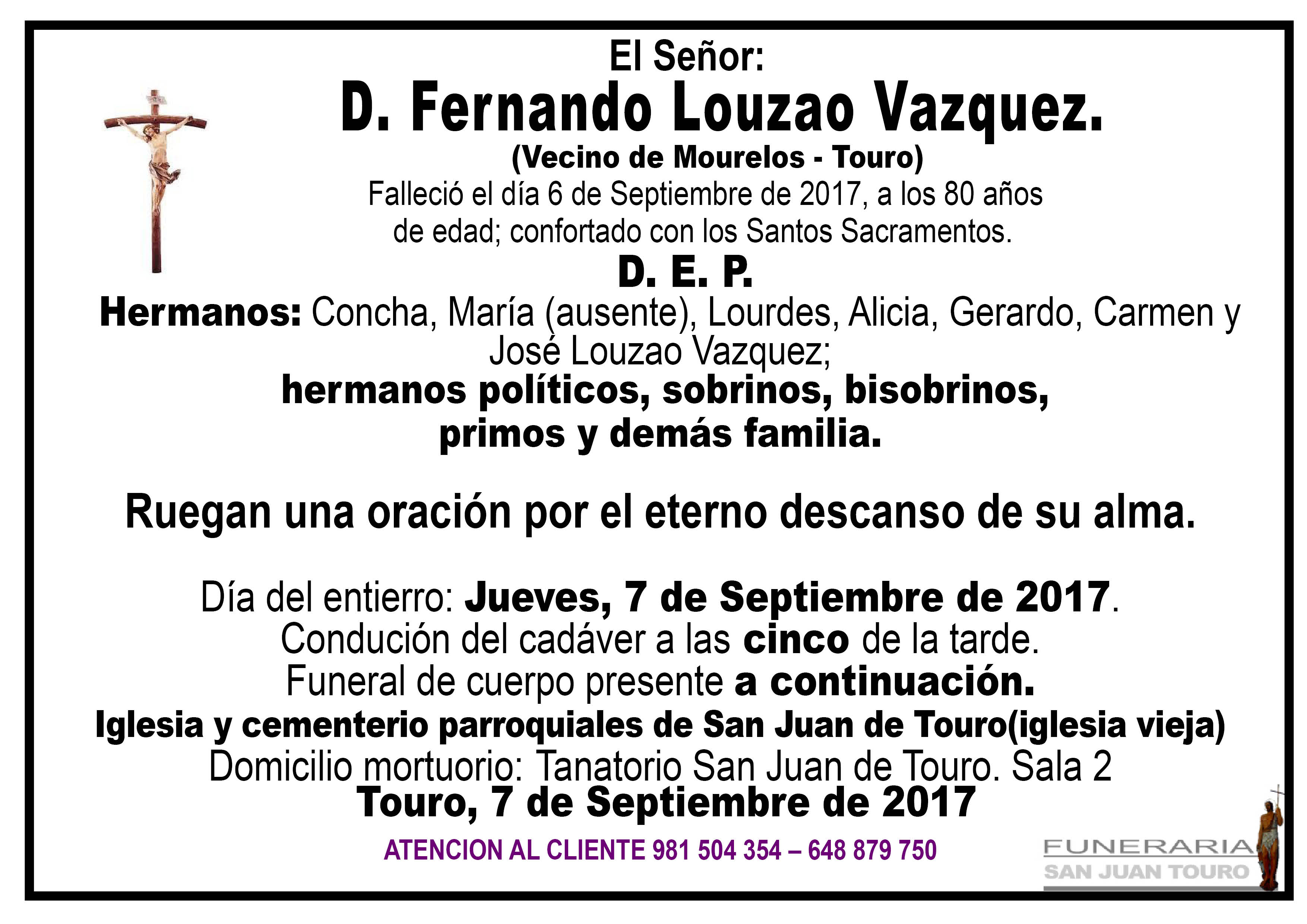 Esquela de SEPELIO DE FERNANDO LOUZAO VAZQUEZ