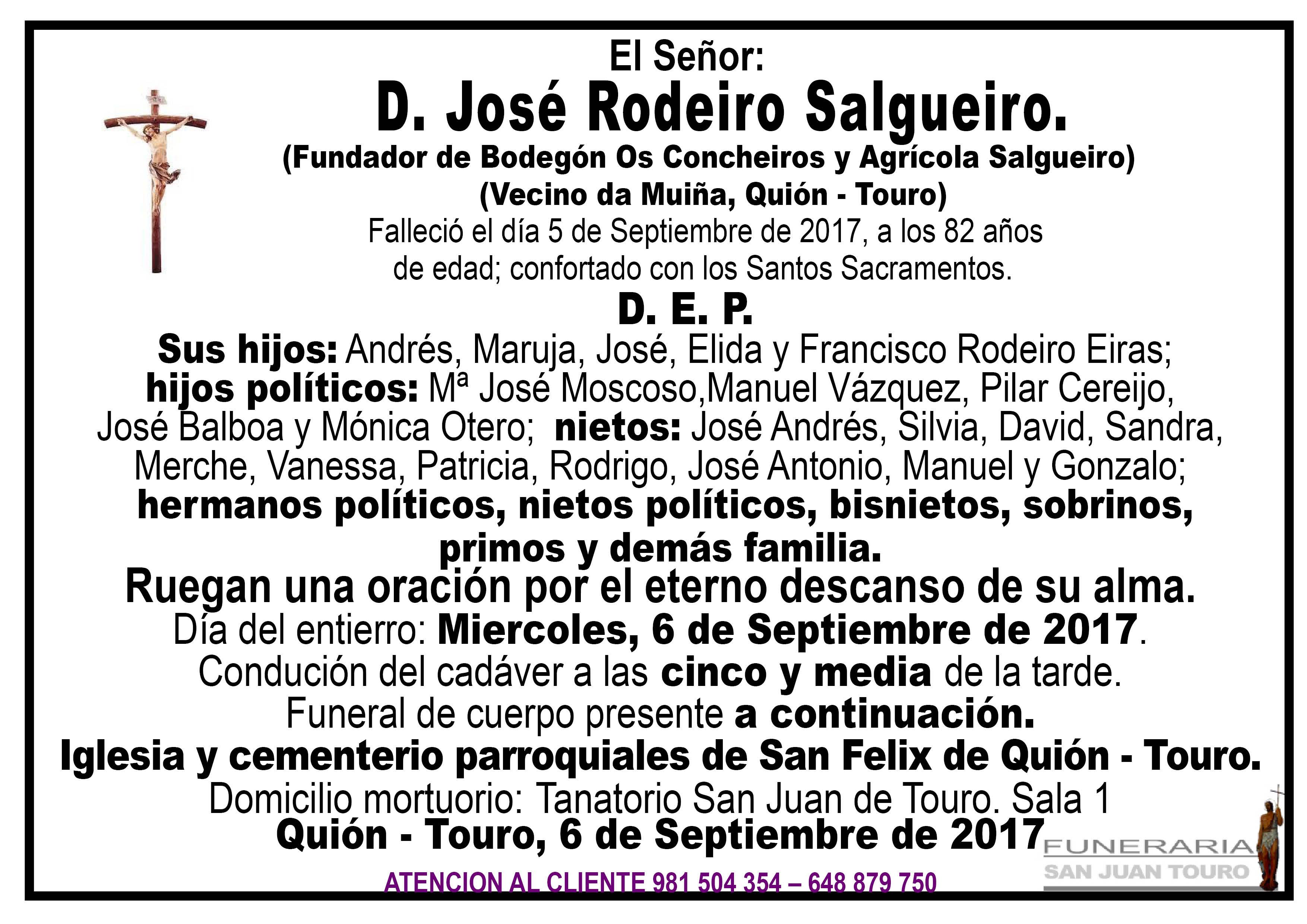Esquela de SEPELIO DE JOSE RODEIRO SALGUEIRO