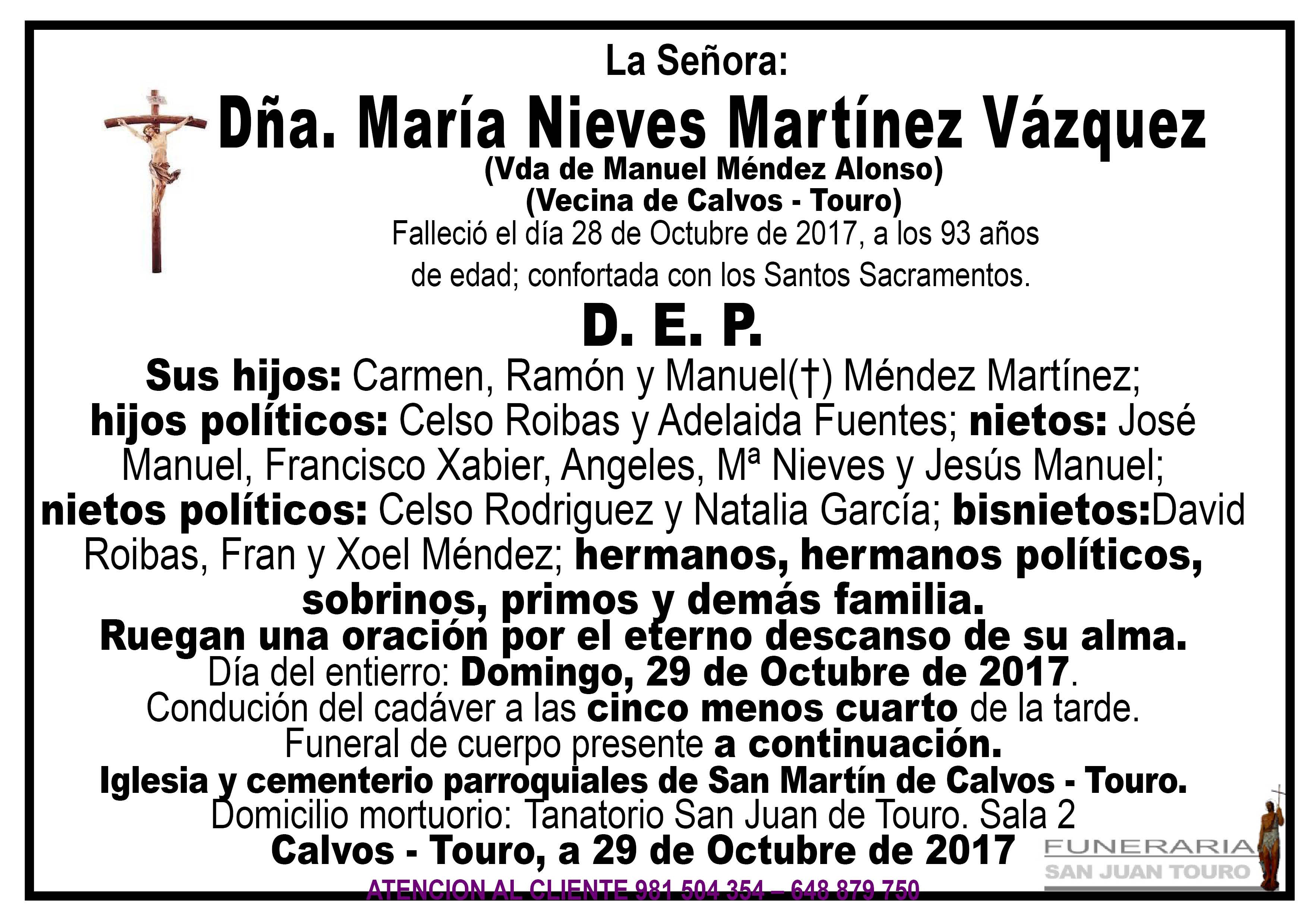 Esquela de SEPELIO DE DÑA MARIA NIEVES MARTINEZ VAZQUEZ