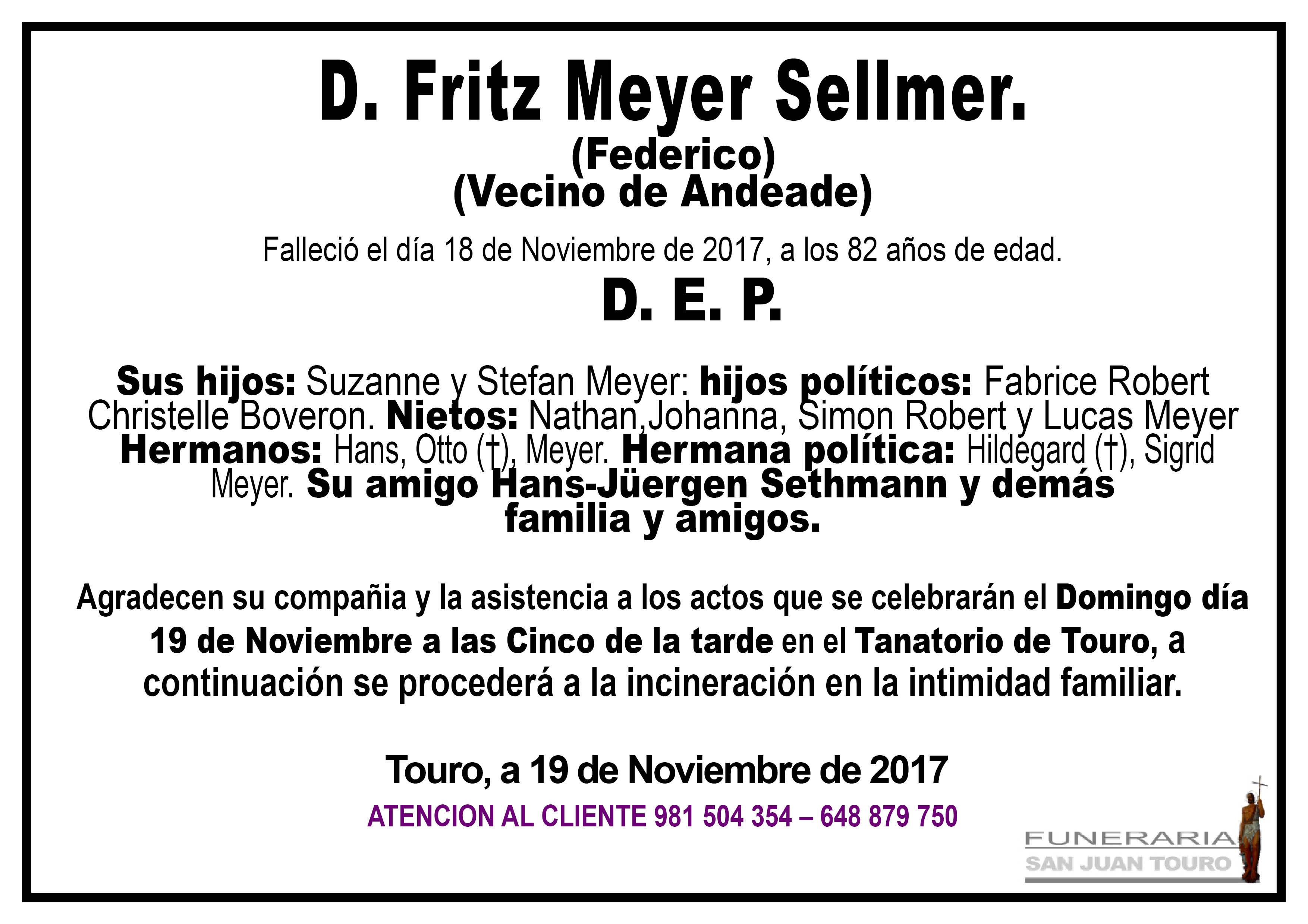 Esquela de SEPELIO DE D. FRITZ MEYER SELLMER