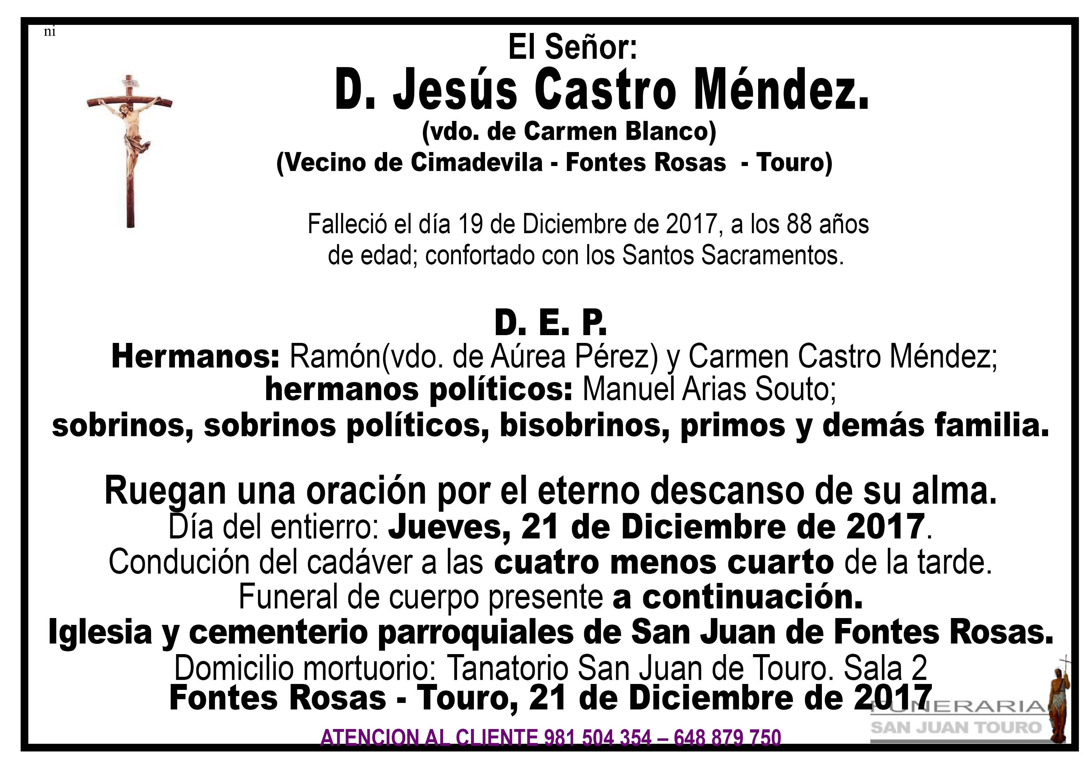 Esquela de SEPELIO DE D. JESUS CASTRO MENDEZ