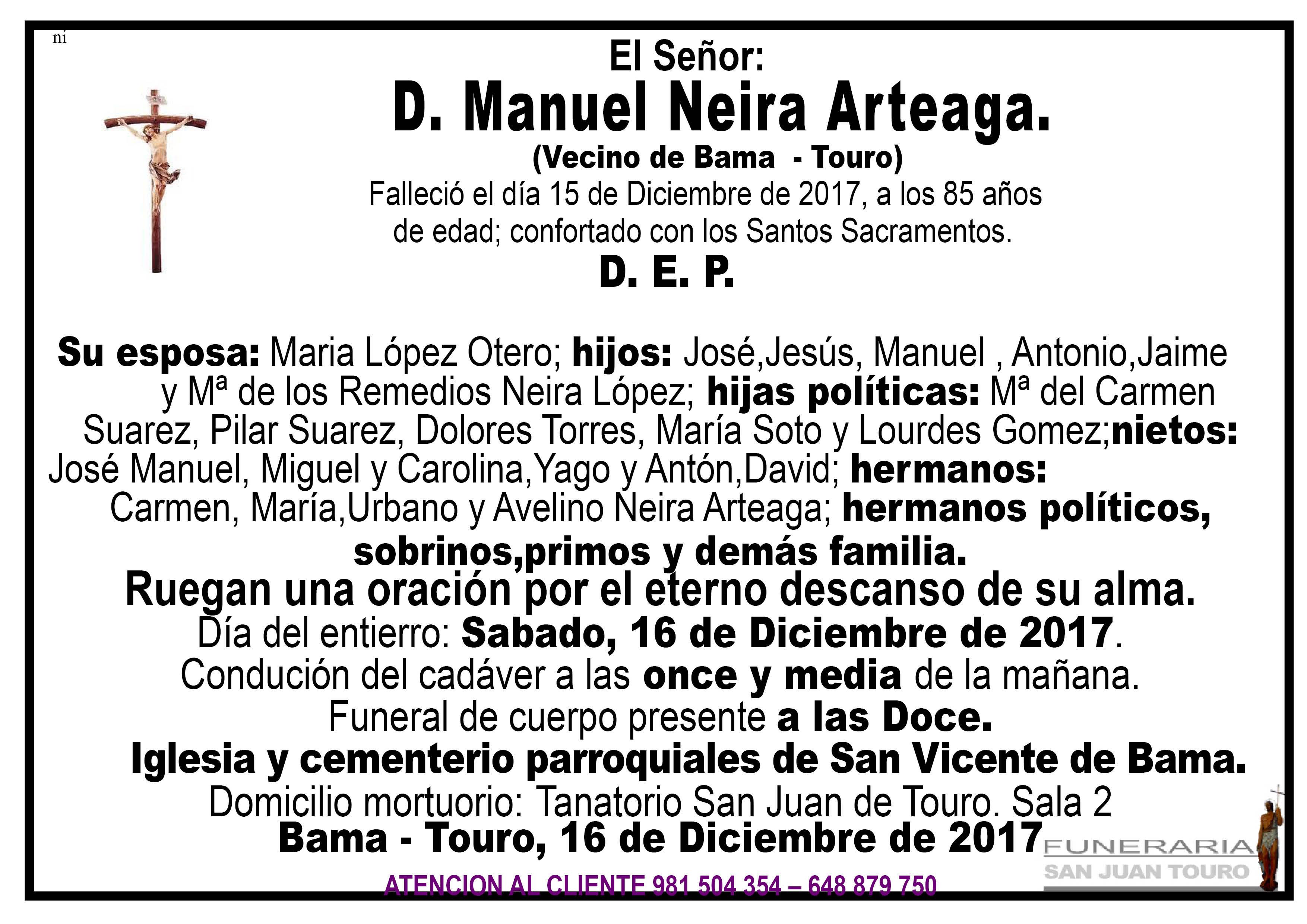 Esquela de SEPELIO DE D. MANUEL NEIRA ARTEAGA
