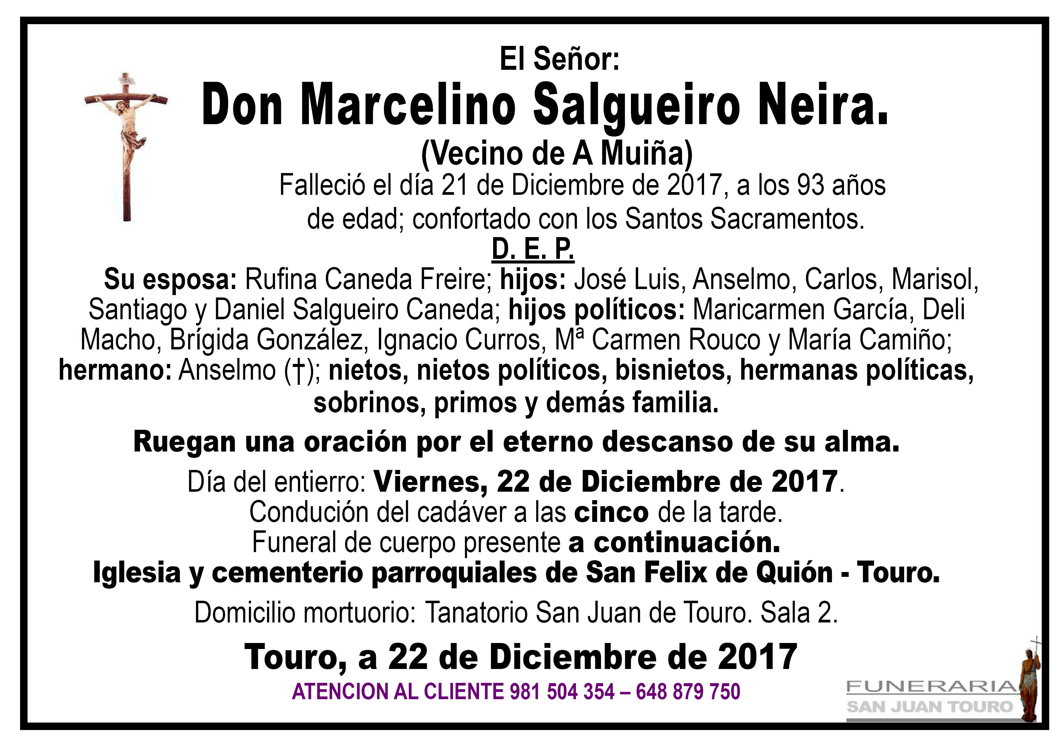 Esquela de SEPELIO DE D. MARCELINO SALGUEIRO NEIRA
