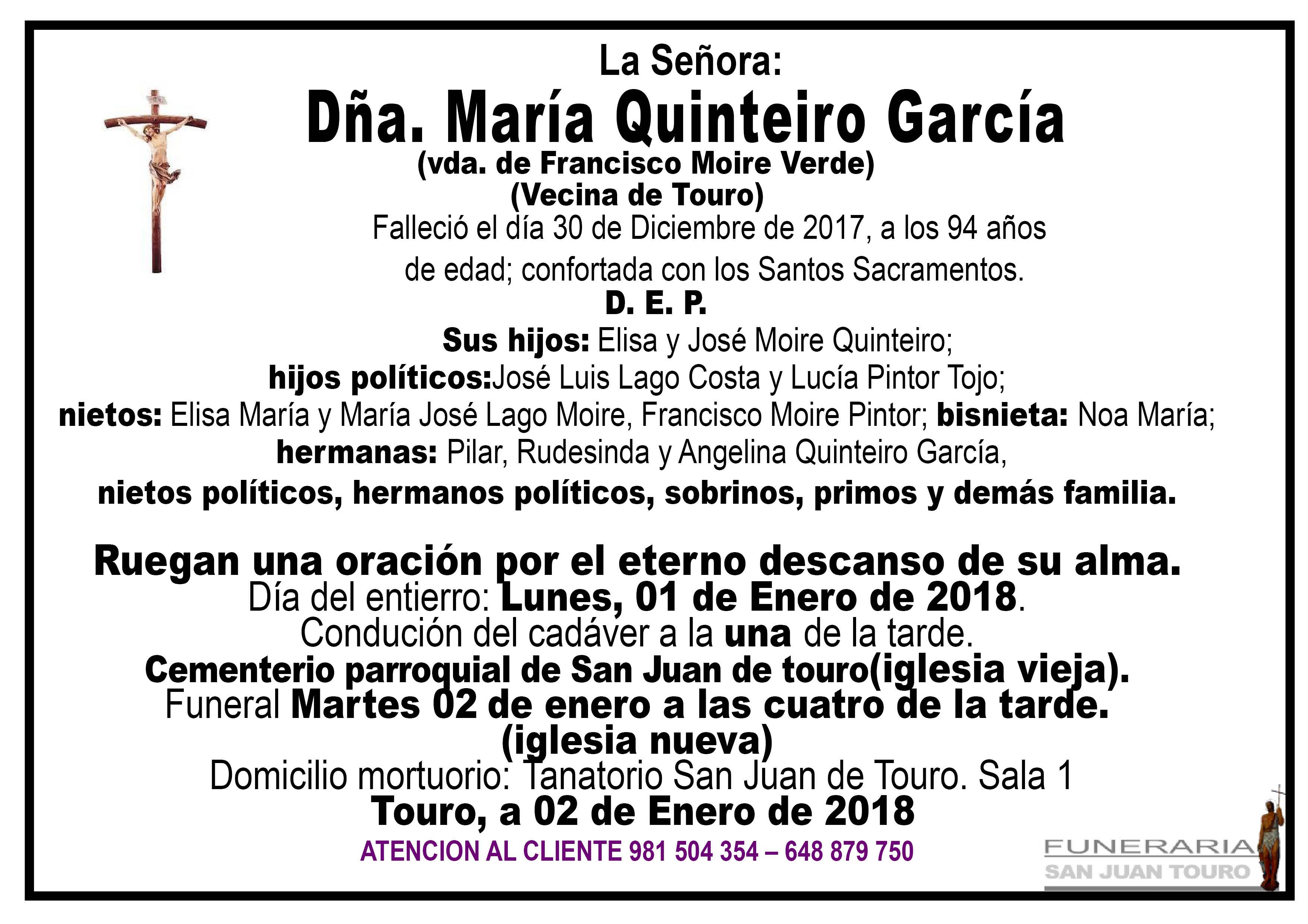 Esquela de SEPELIO DE DÑA. MARIA QUINTEIRO GARCIA