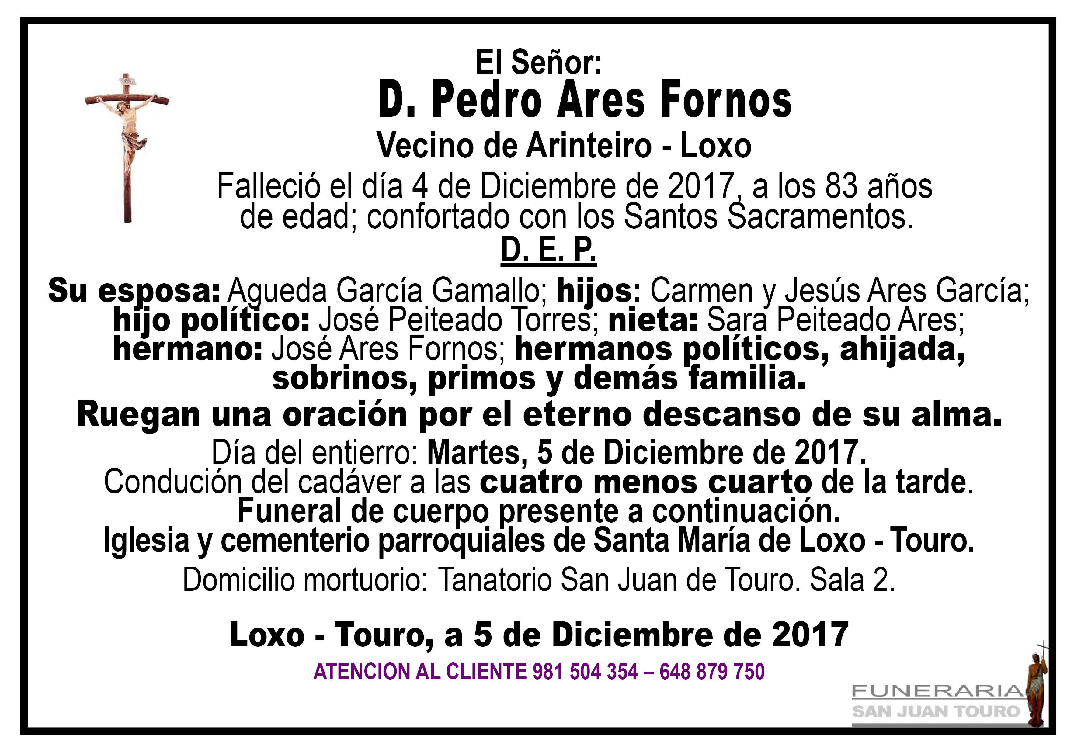 Esquela de SEPELIO DE D. PEDRO ARES FORNOS