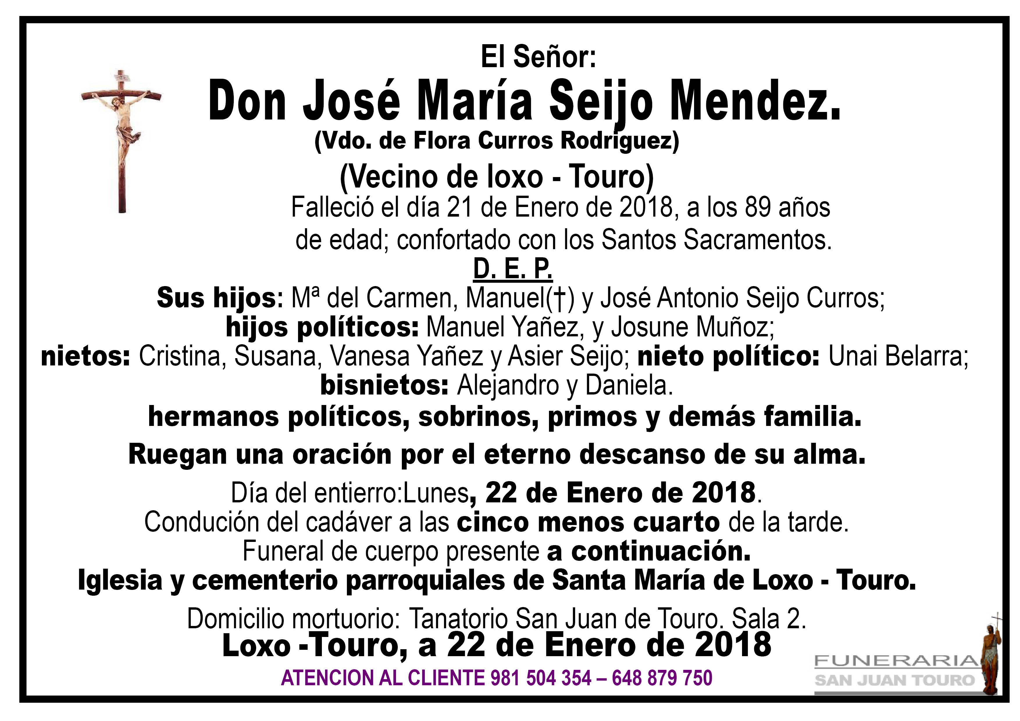 Esquela de SEPELIO DE D. JOSE MARIA SEIJO MENDEZ