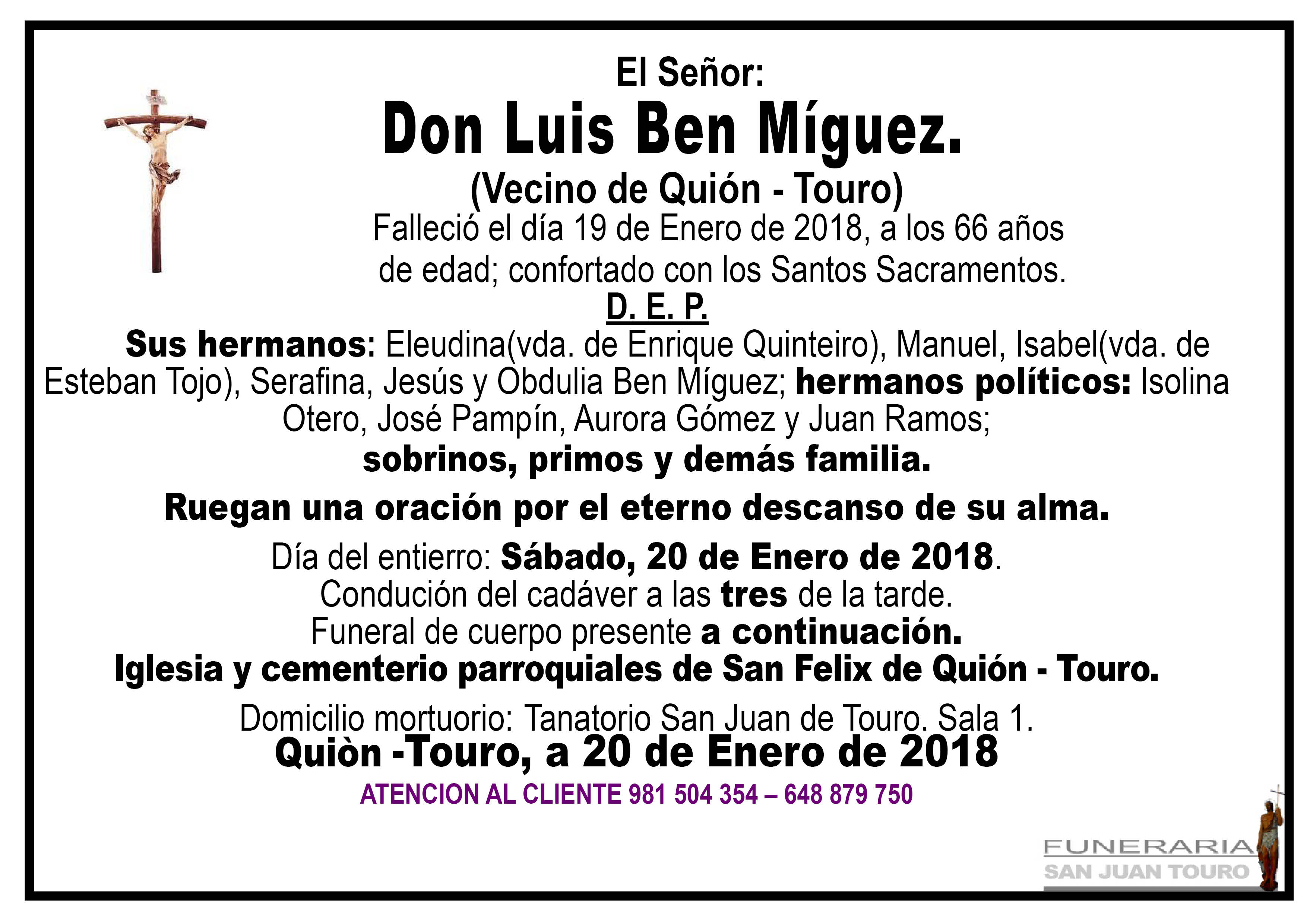 Esquela de SEPELIO DE LUIS BEN MIGUEZ