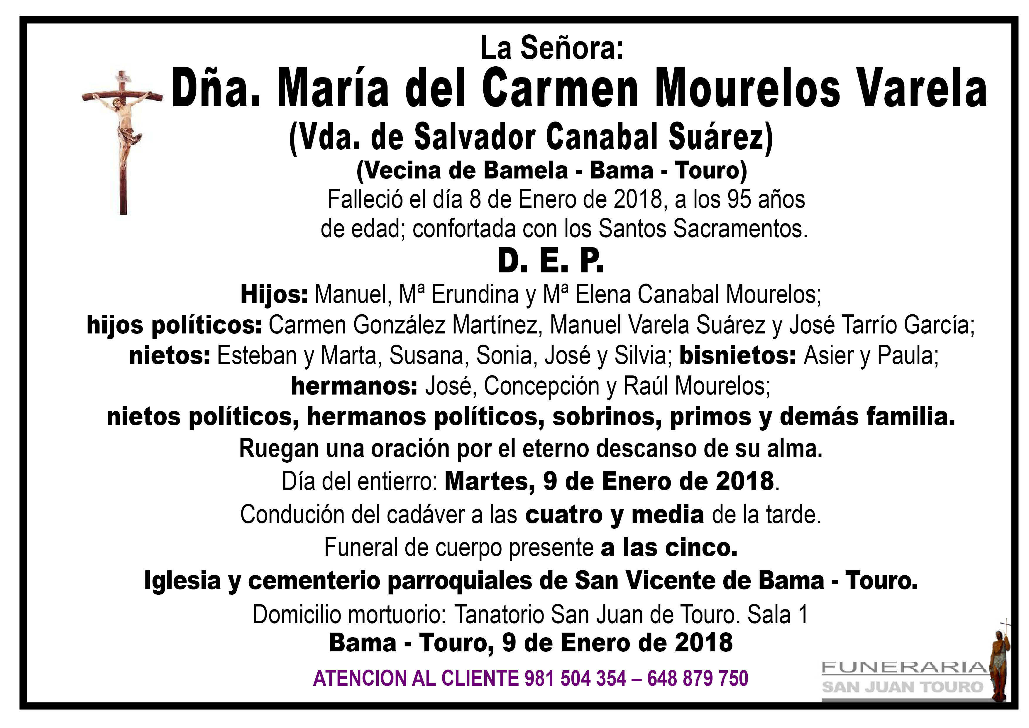 Esquela de SEPELIO DE DÑA. Mª DEL CARMEN MOURELOS VARELA