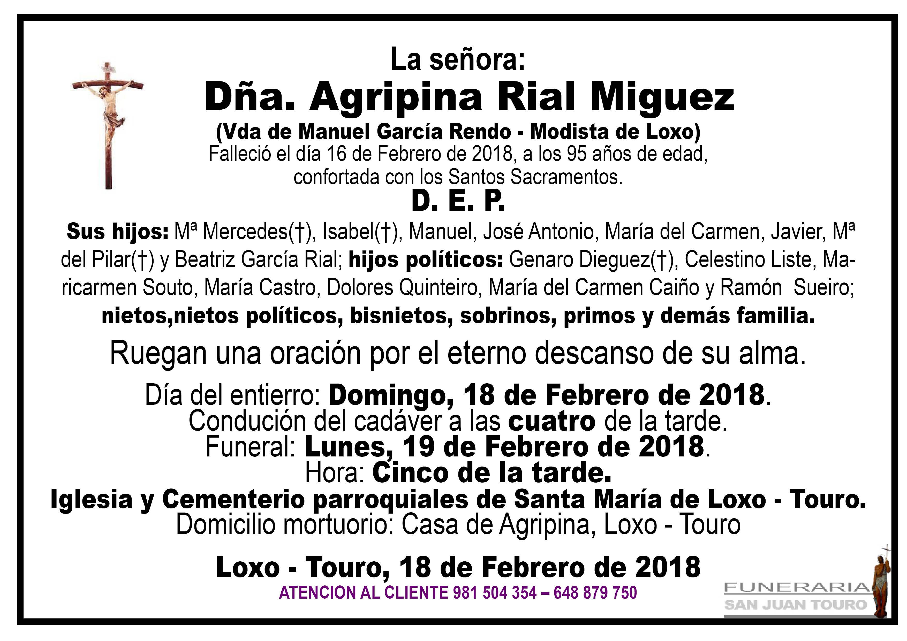 Esquela de SEPELIO DE DOÑA AGRIPINA RIAL MIGUEZ