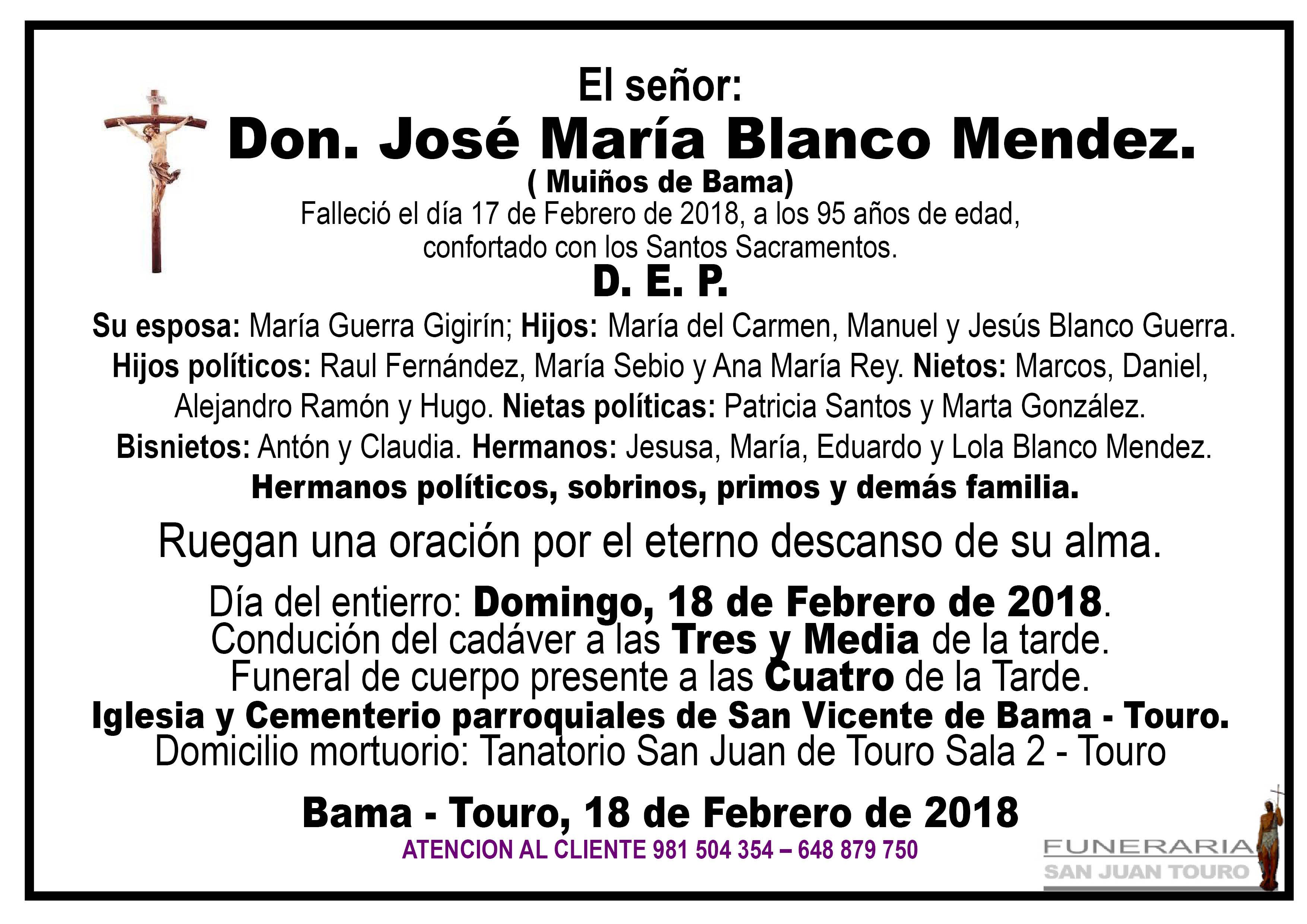 Esquela de SEPELIO DE DON JOSÉ MARÍA BLANCO MENDEZ